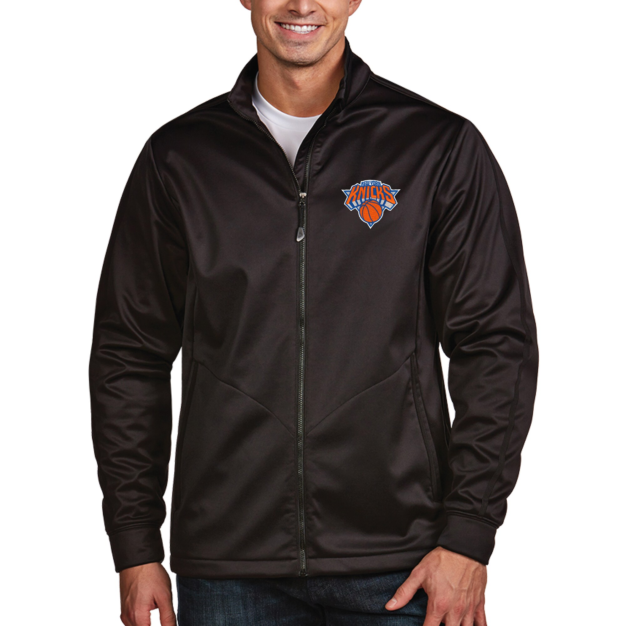 New York Knicks Antigua Golf Full Zip Jacket - Black