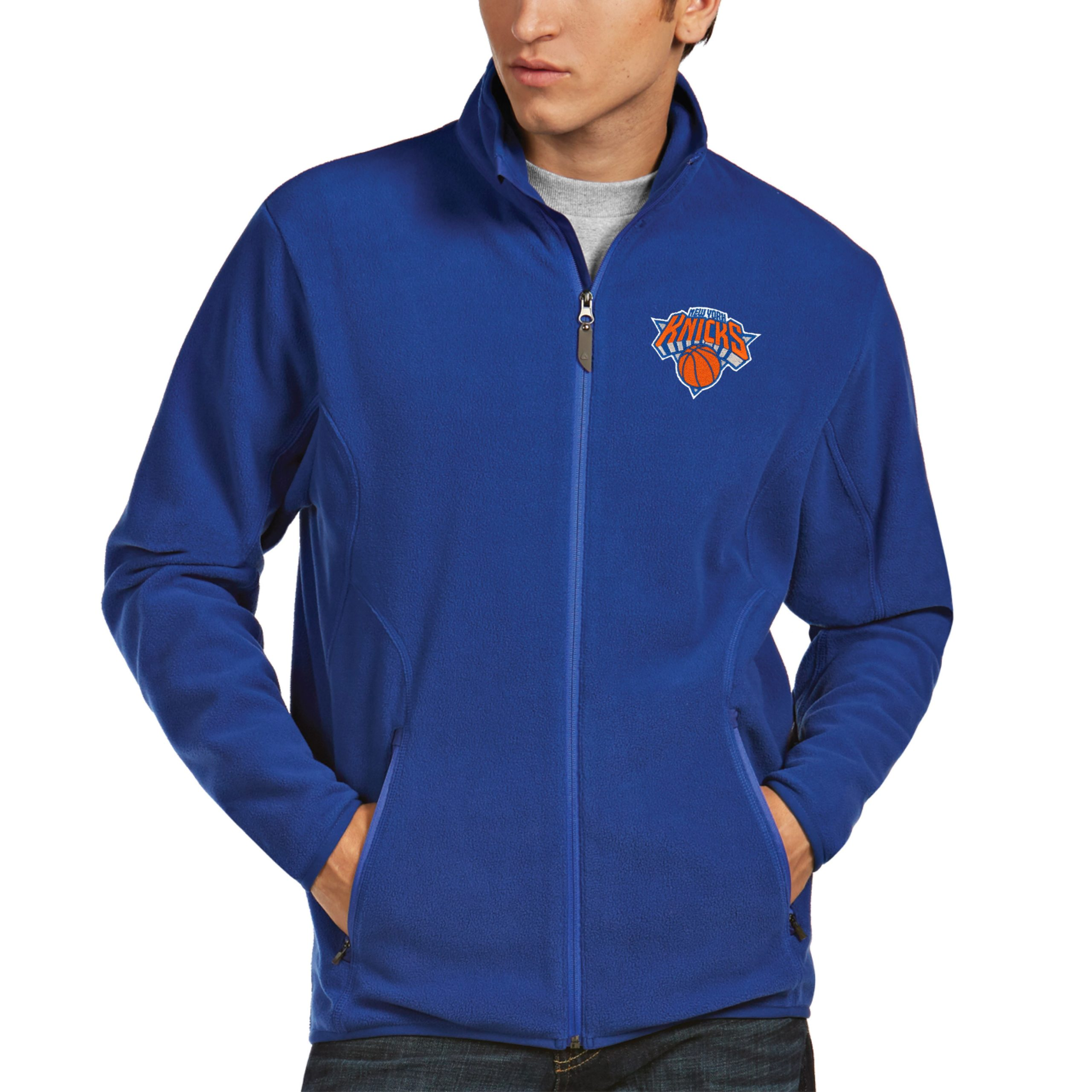 New York Knicks Antigua Ice Full Zip Fleece Jacket - Royal
