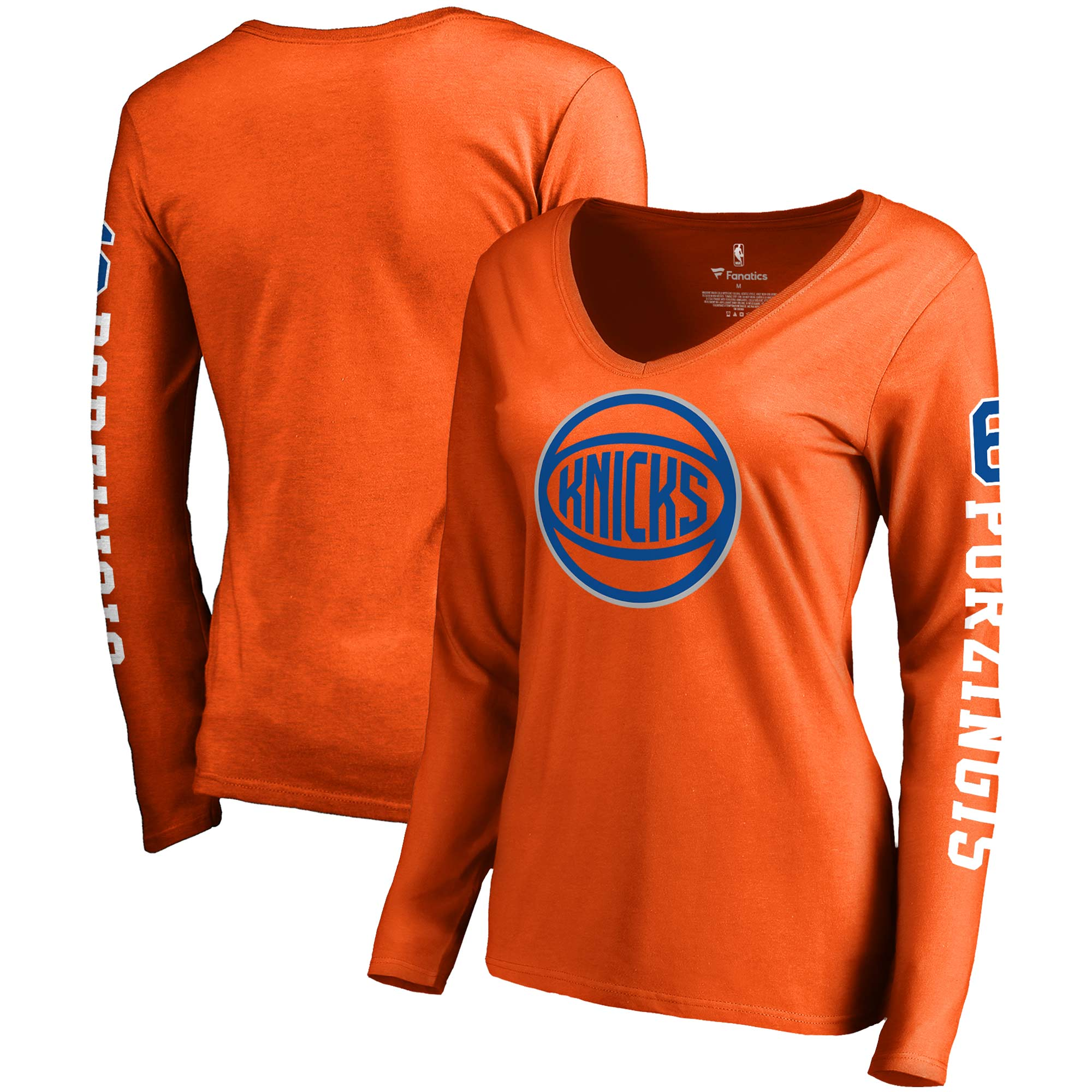 Kristaps Porzingis New York Knicks Fanatics Branded Women's Team Idol Name & Number Long Sleeve V-Neck T-Shirt - Orange