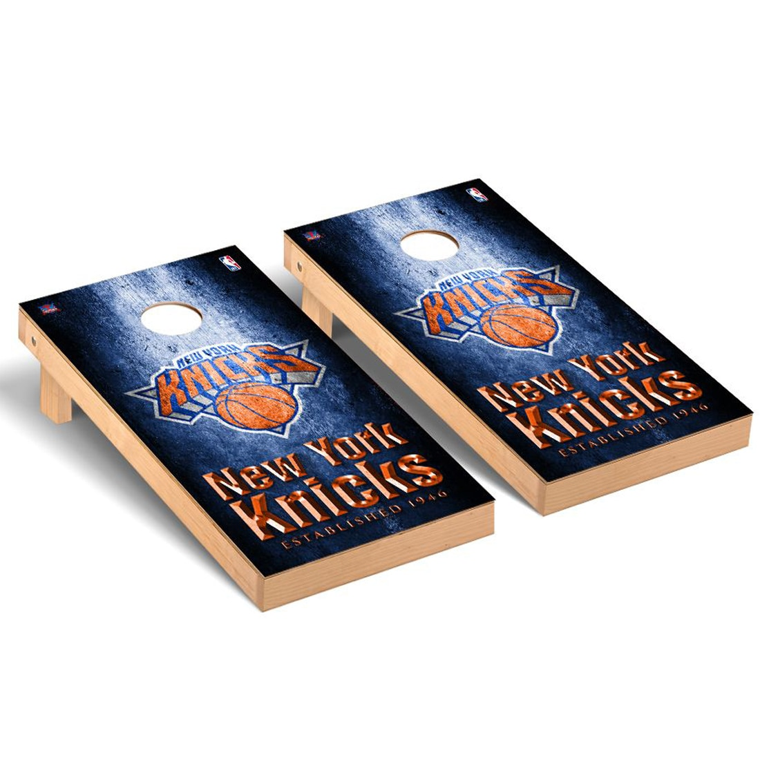 New York Knicks 2' x 4' Metal Museum Cornhole Board Tailgate Toss Set