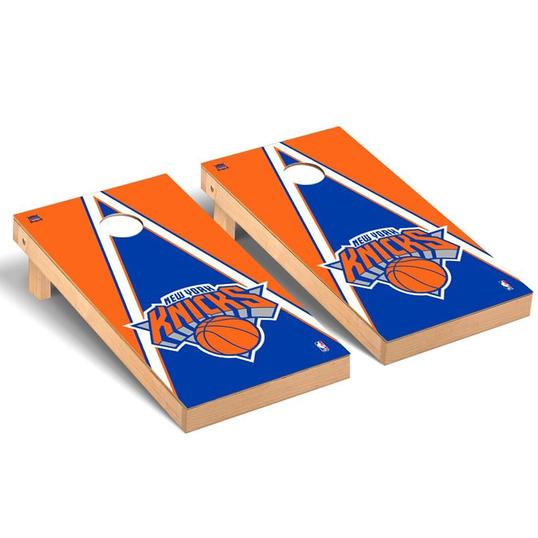 New York Knicks 2' x 4' Triangle Museum Cornhole Board Tailgate Toss Set