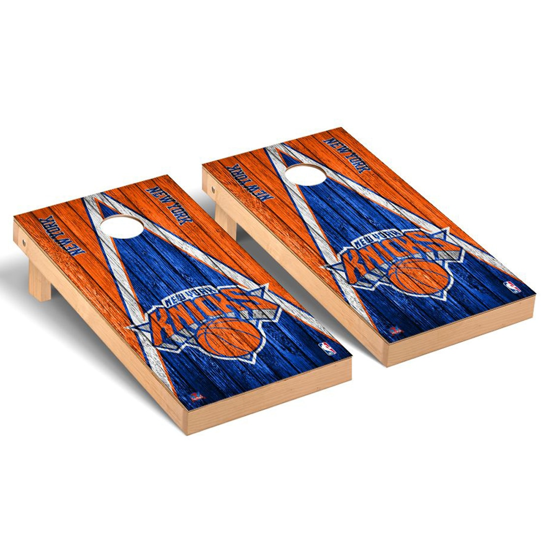 New York Knicks 2' x 4' Weathered Museum Cornhole Board Tailgate Toss Set