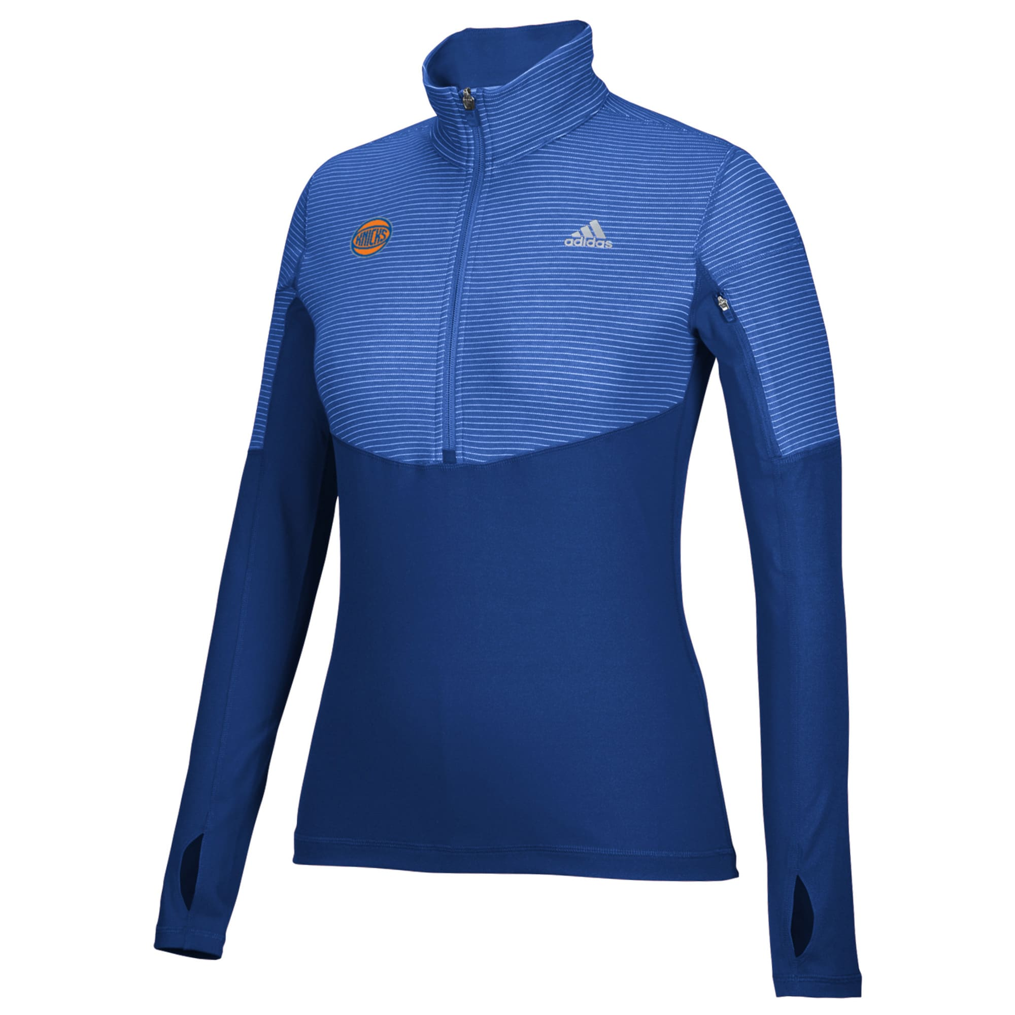 New York Knicks adidas Women's Team Logo Lightweight Performance Half-Zip Jacket - Royal