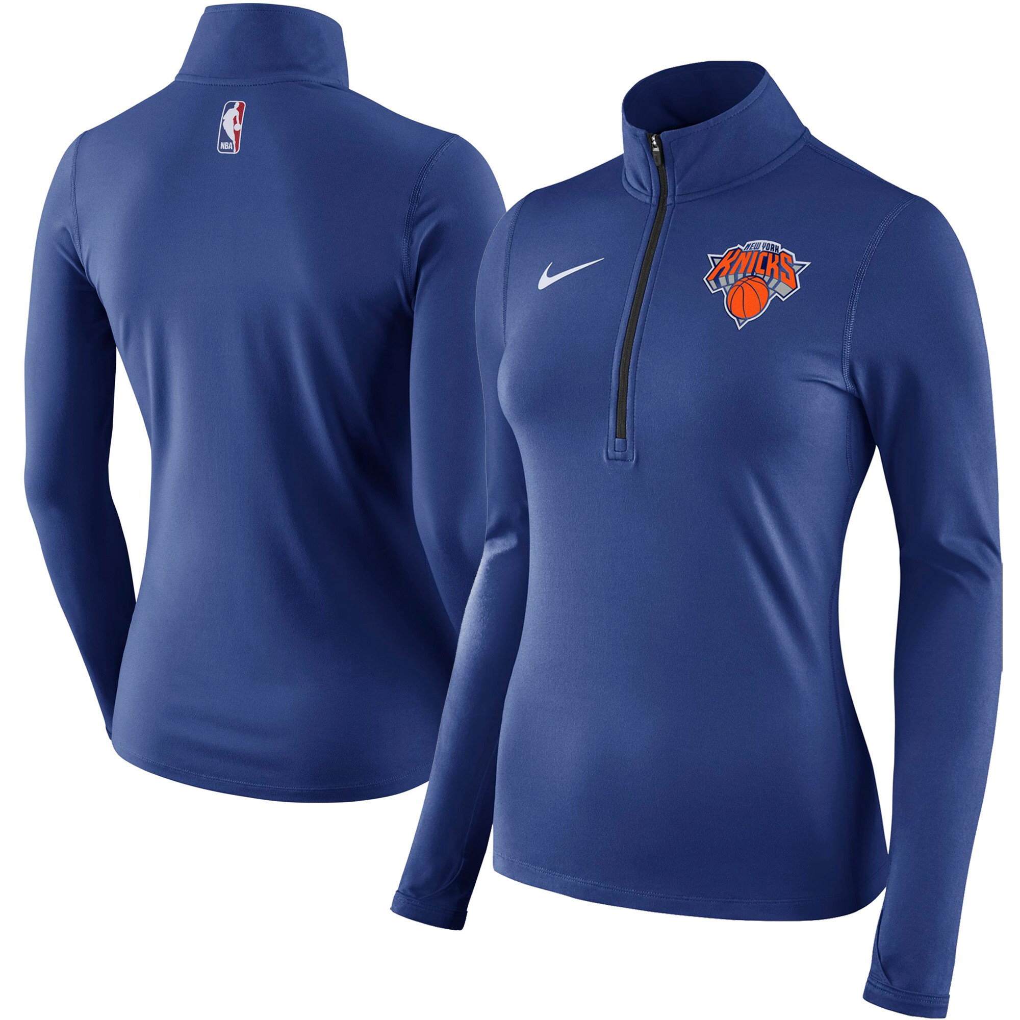 New York Knicks Nike Women's Element Quarter-Zip Jacket - Blue