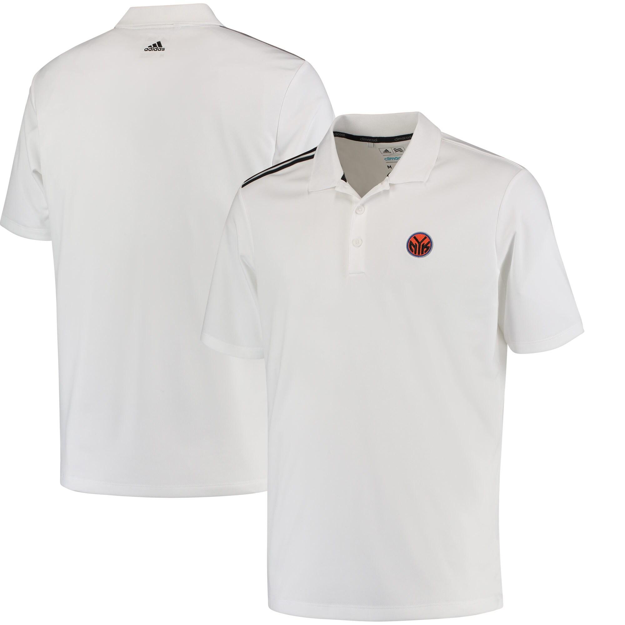 New York Knicks adidas 3-Stripes climacool Polo - White