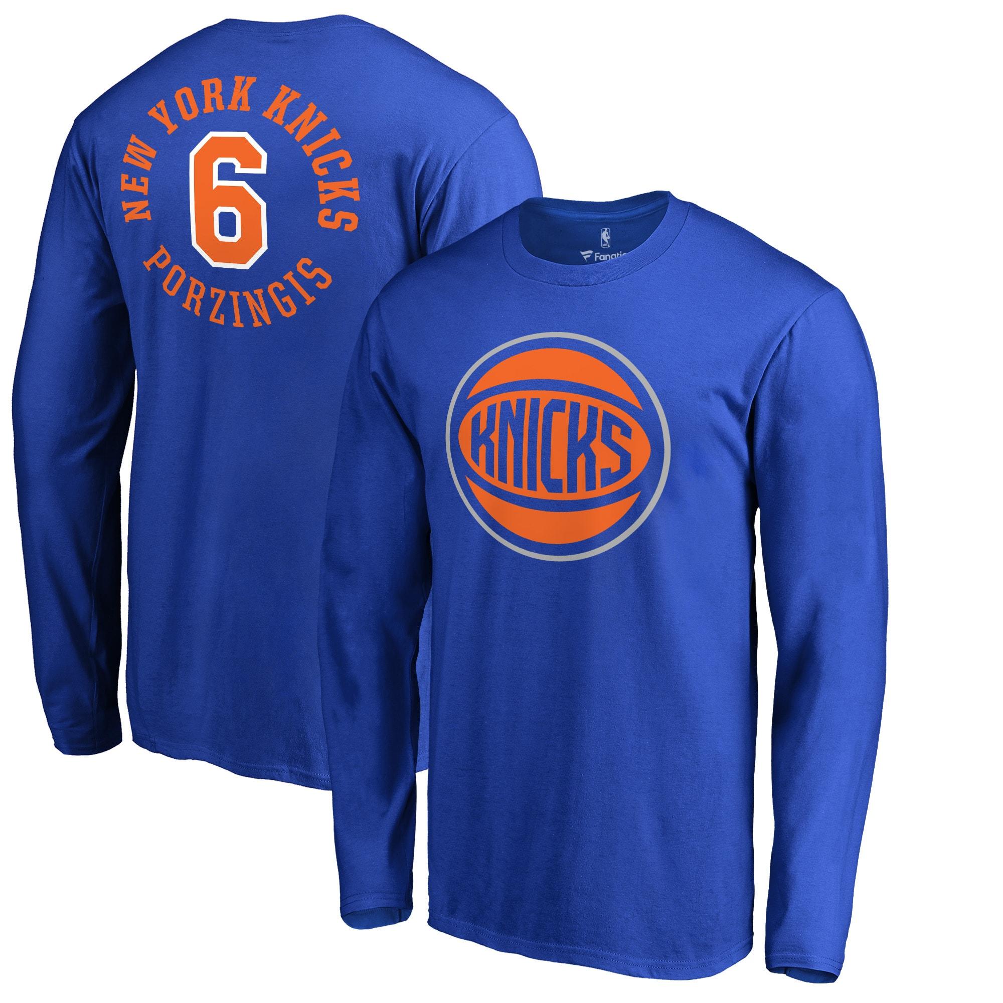 Kristaps Porzingis New York Knicks Fanatics Branded Round About Name & Number Long Sleeve T-Shirt - Royal