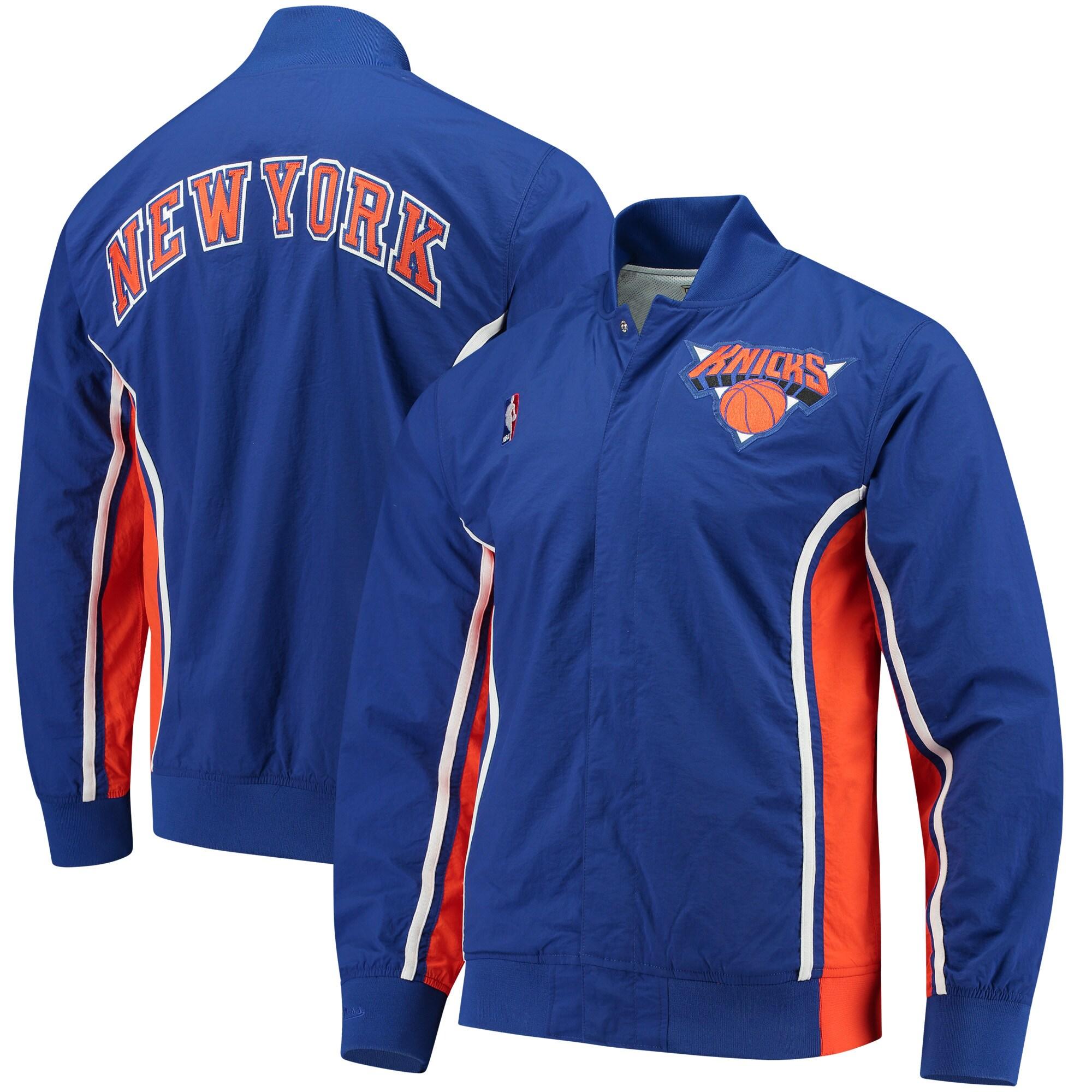 New York Knicks Mitchell & Ness Authentic Warm-Up Jacket - Blue