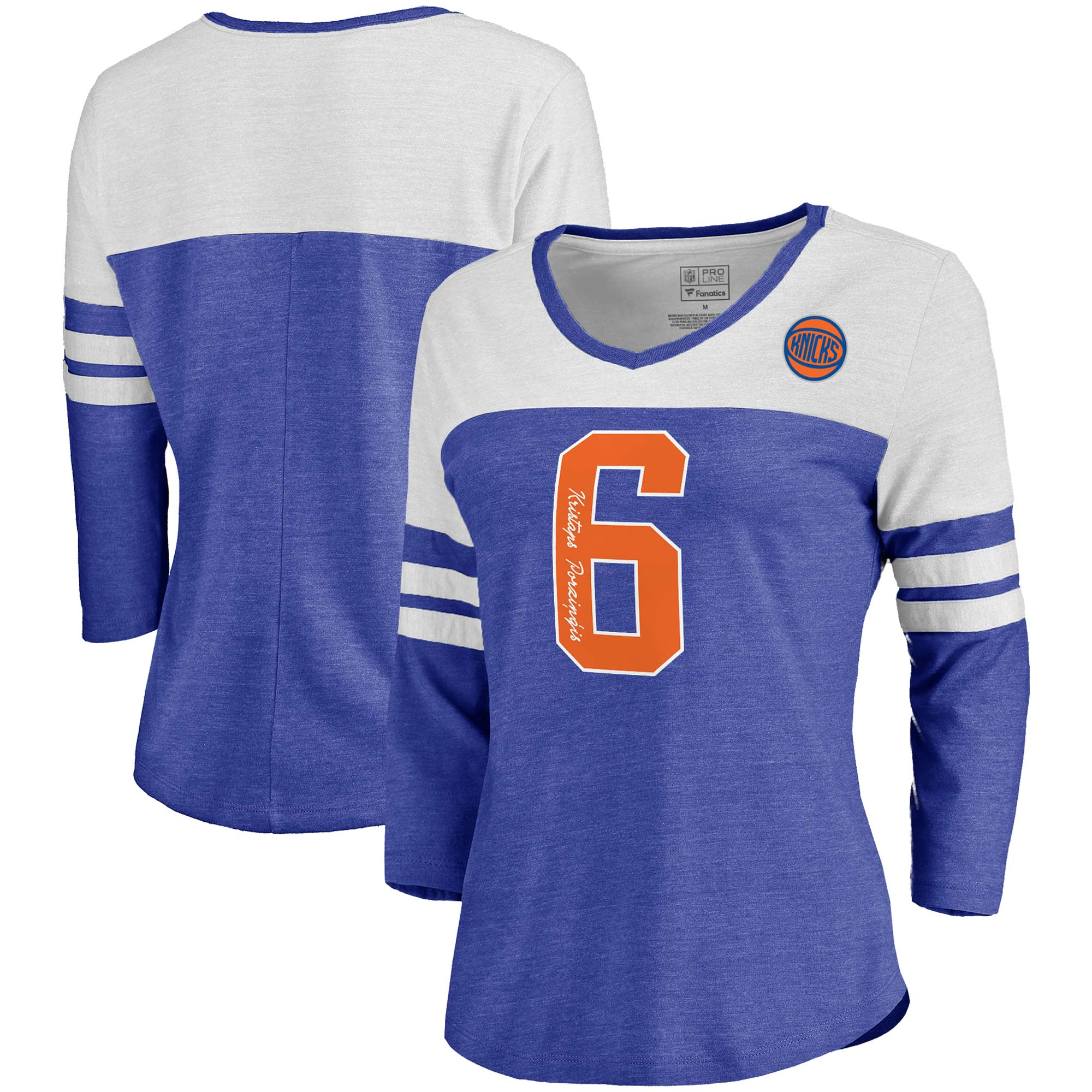 Kristaps Porzingis New York Knicks Fanatics Branded Women's Starstruck Name & Number Tri-Blend 3/4-Sleeve V-Neck T-Shirt - Blue