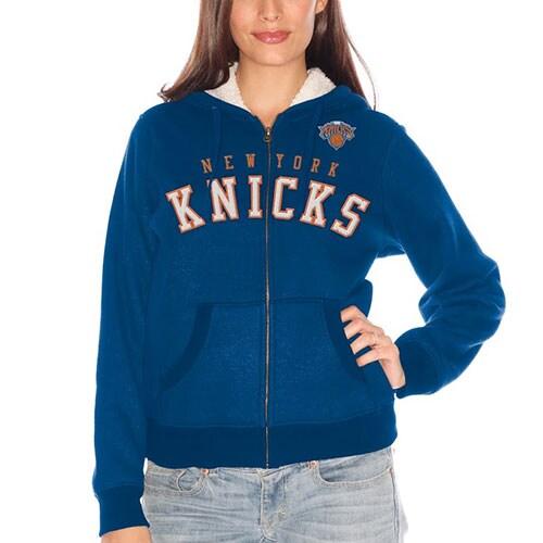 New York Knicks Women's Sherpa Baseline Full Zip Hooded Jacket - Royal Blue