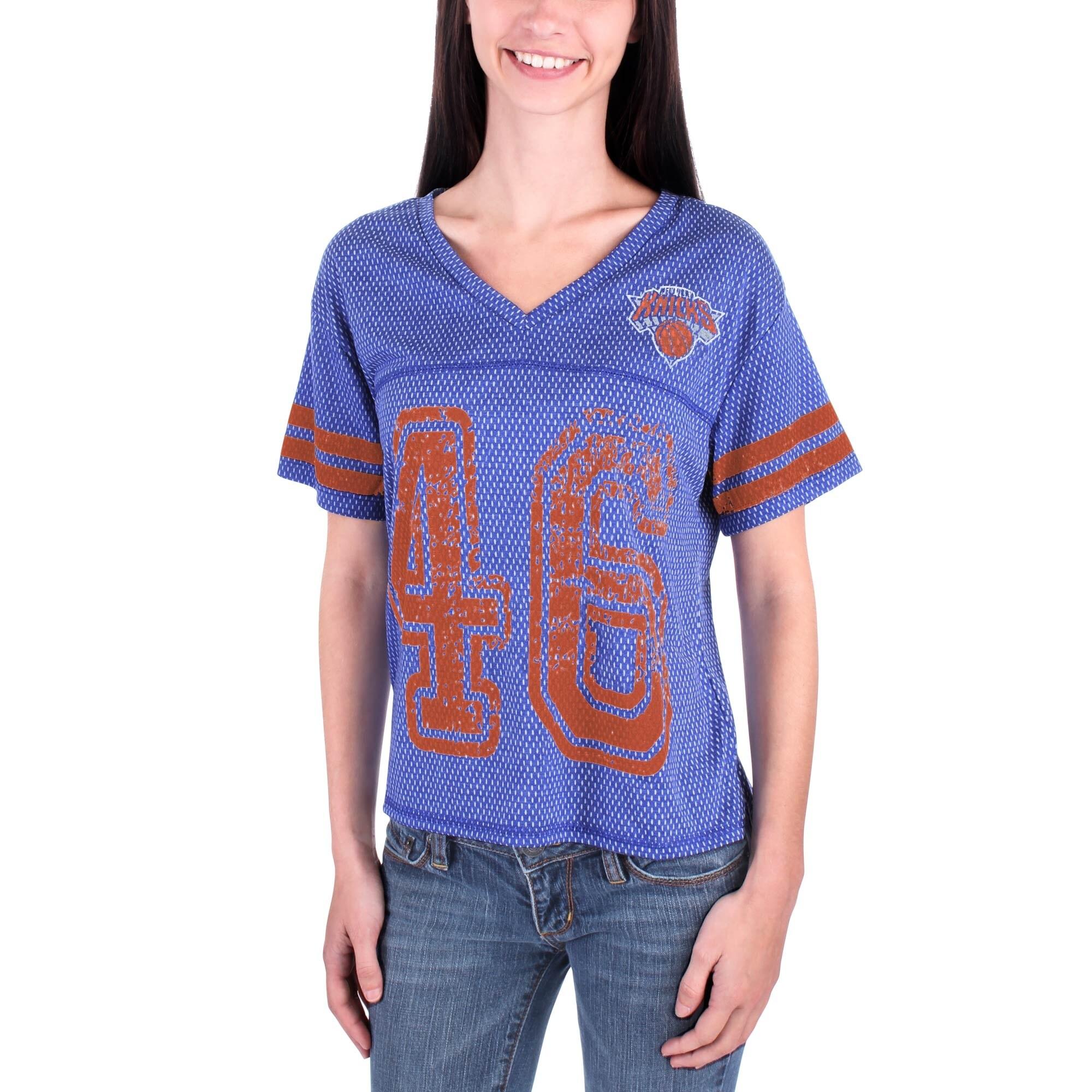 New York Knicks Women's End Zone V-Neck Jersey T-Shirt - Royal Blue