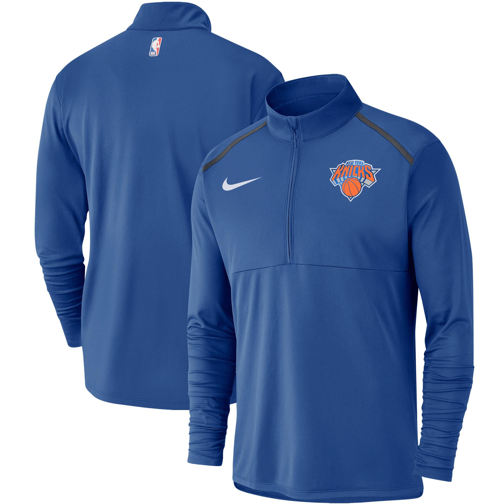 New York Knicks Nike Element Performance Half-Zip Pullover Jacket - Blue