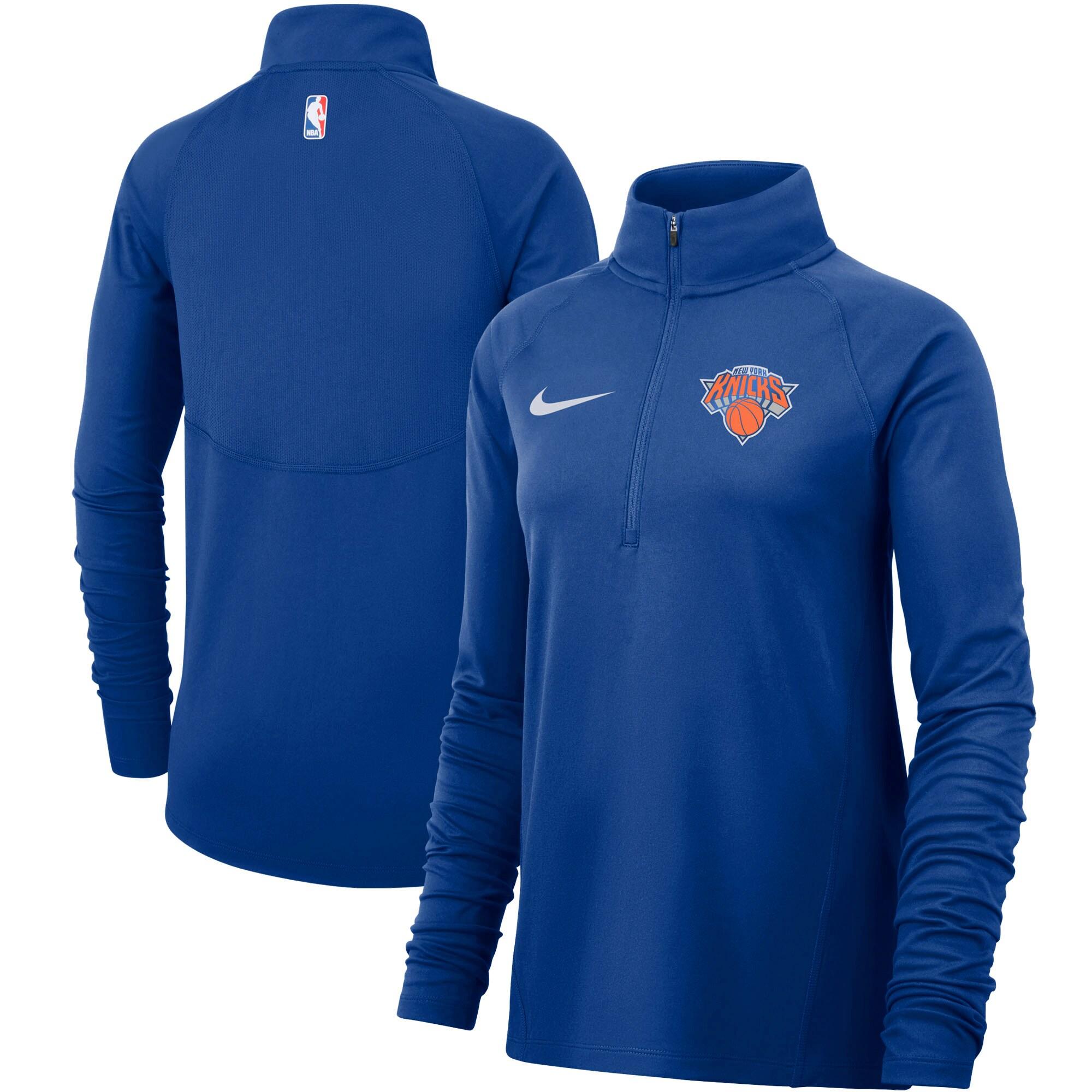 New York Knicks Nike Women's Element Performance Raglan Sleeve Half-Zip Pullover Jacket - Blue
