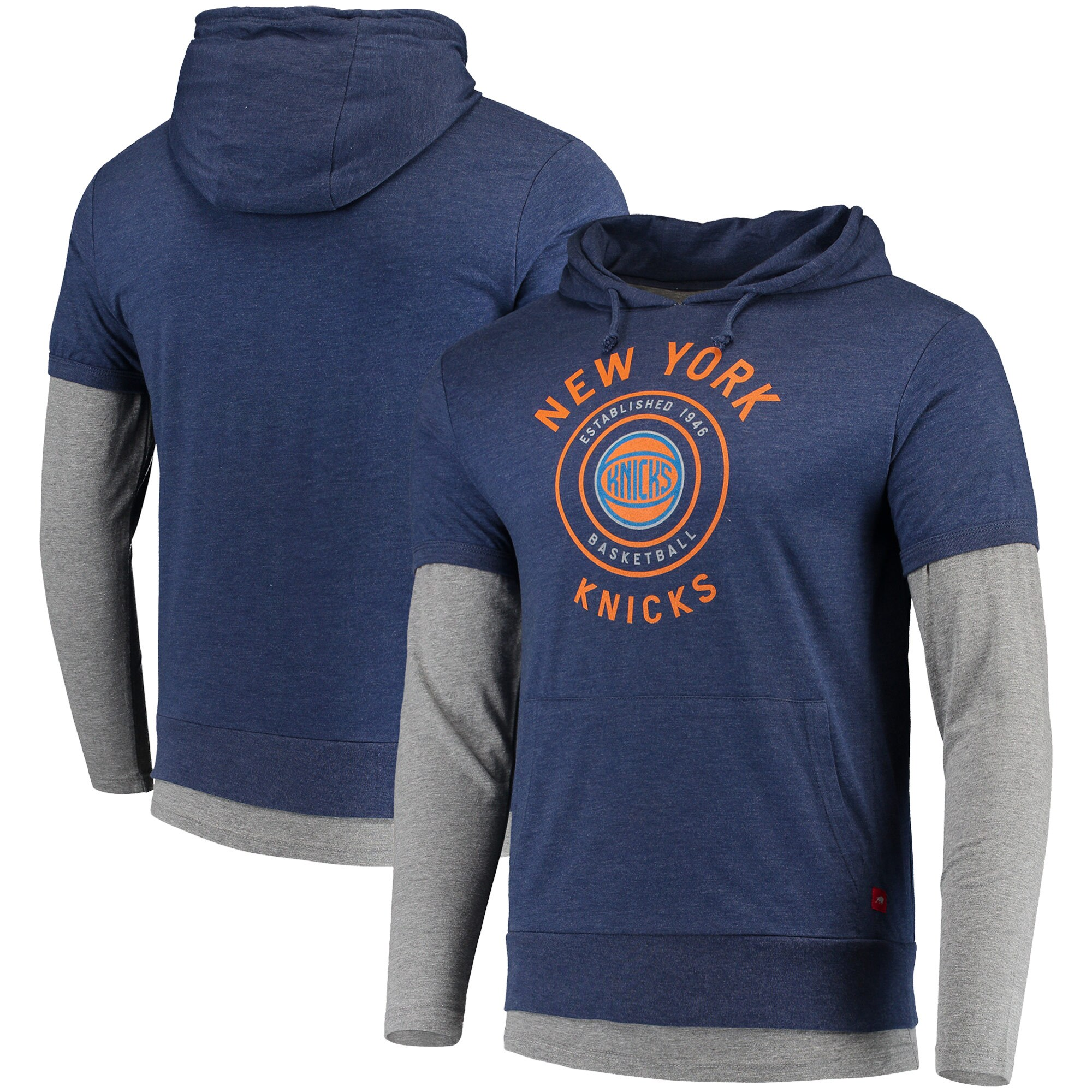 New York Knicks Sportiqe Miller Two-Tone Tri-Blend Pullover Hoodie - Navy