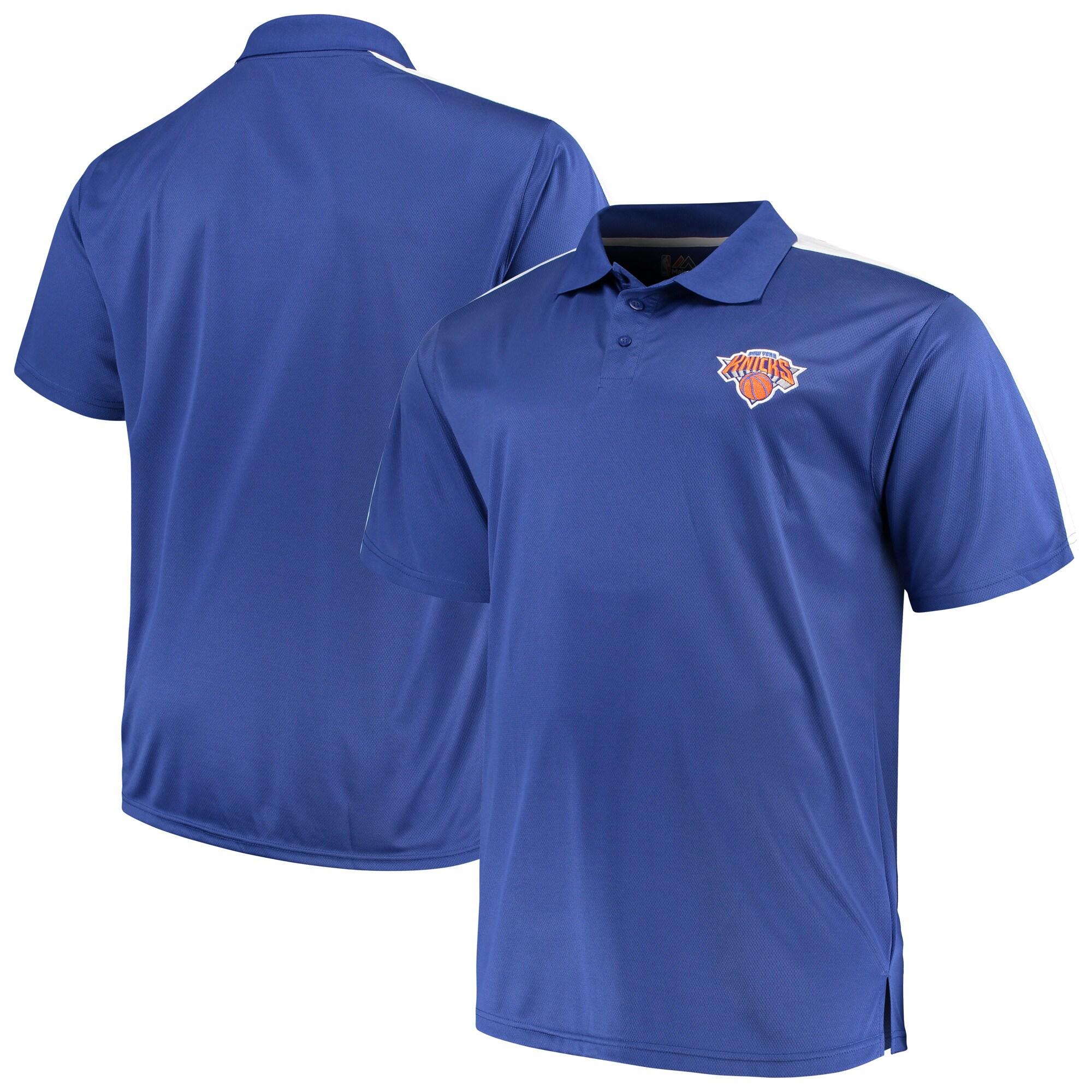 New York Knicks Majestic Big & Tall Birdseye Polo - Blue/White