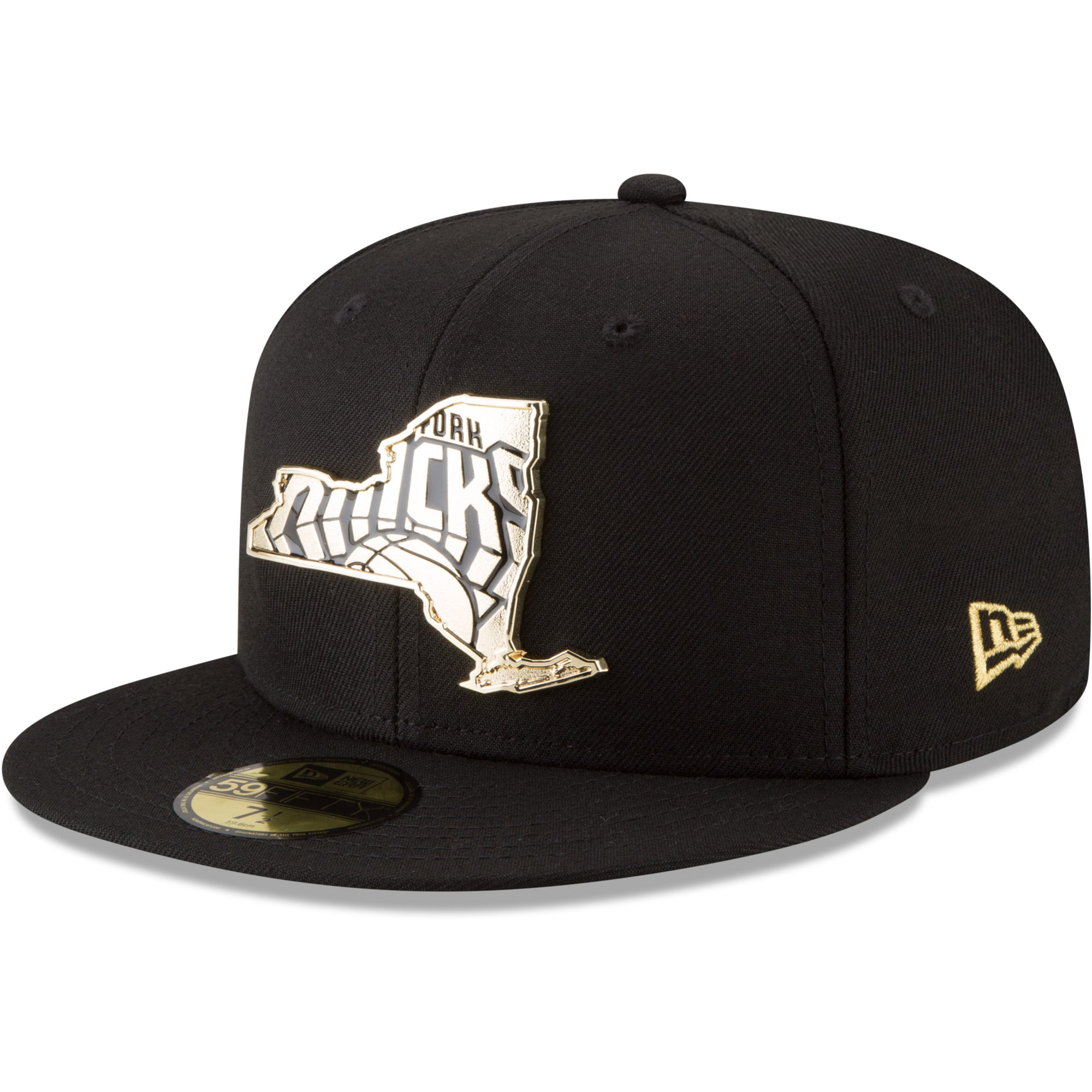 New York Knicks New Era Gold Stated 59FIFTY Fitted Hat - Black