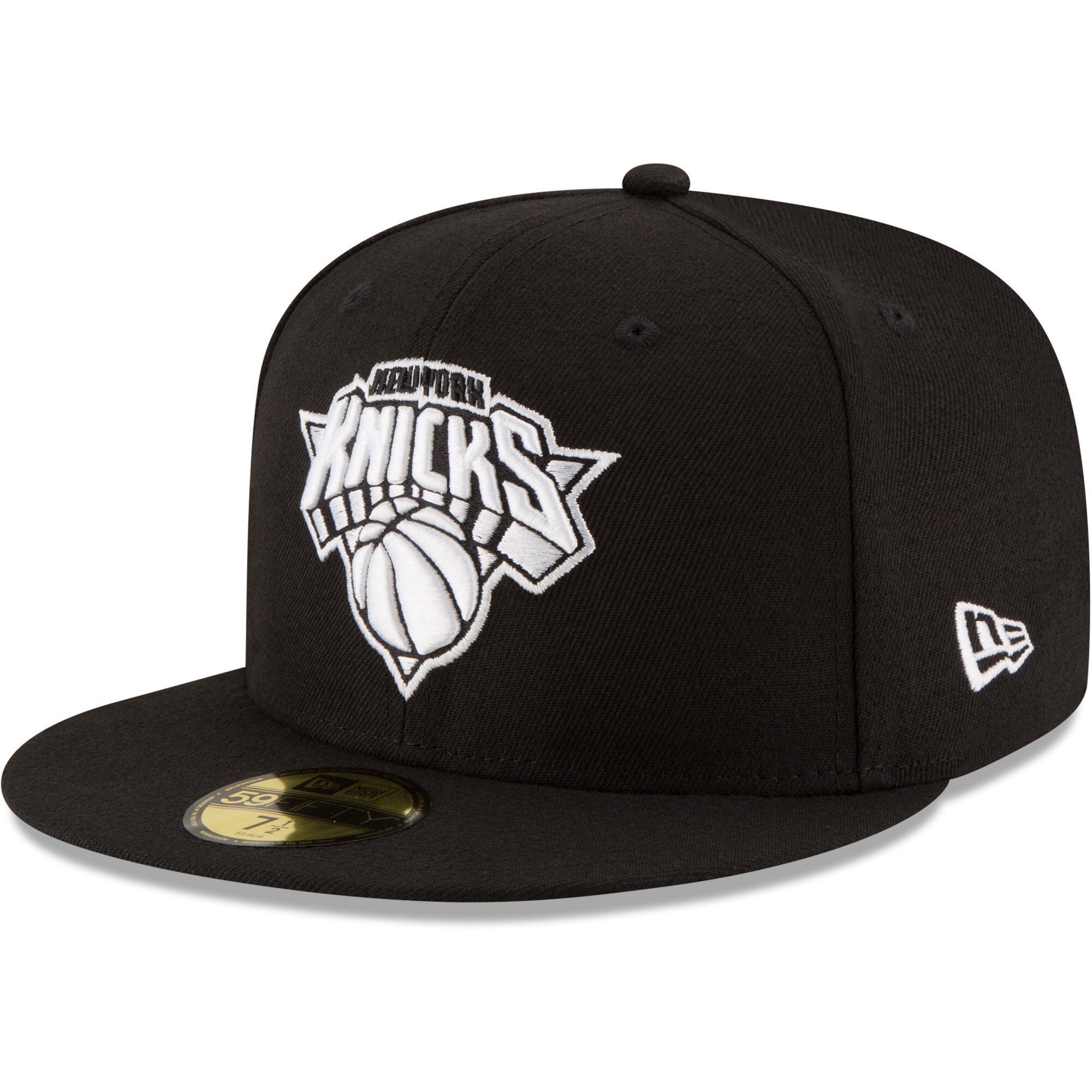 New York Knicks New Era Black & White Logo 59FIFTY Fitted Hat - Black
