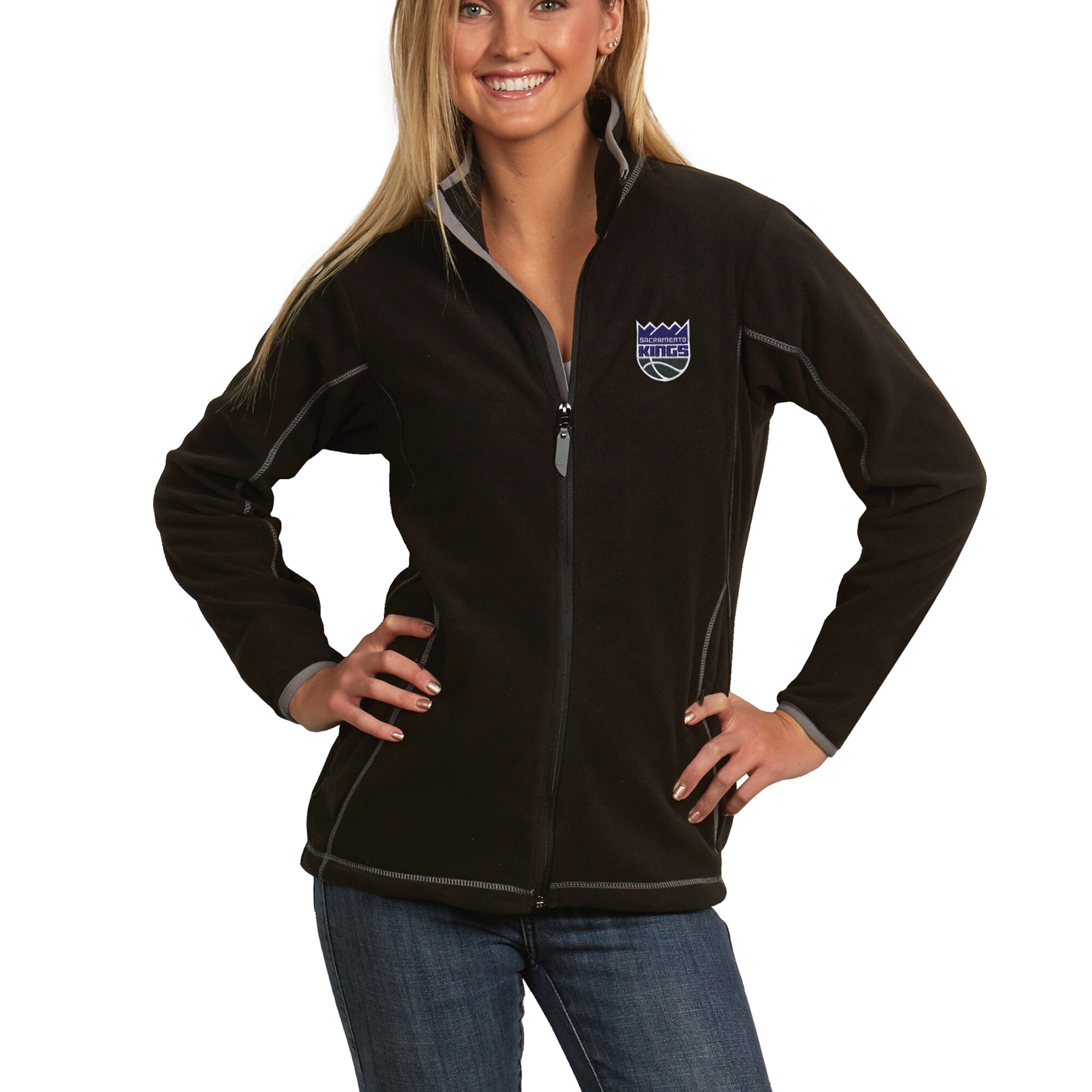 Sacramento Kings Antigua Women's New Logo Ice Full-Zip Jacket - Black