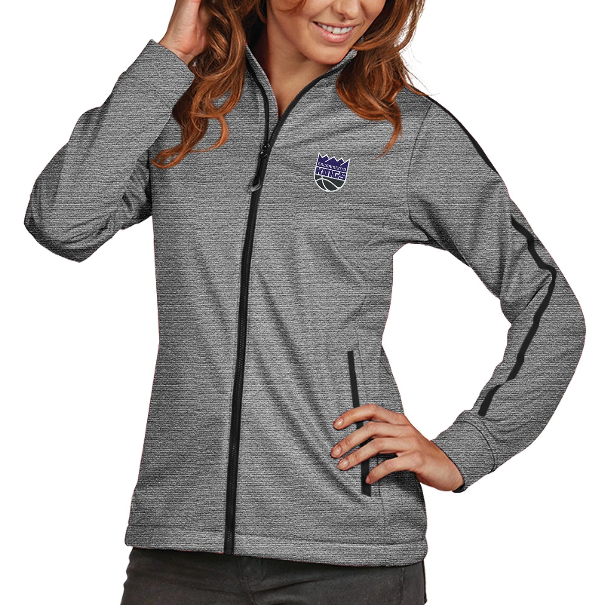 Sacramento Kings Antigua Women's New Logo Golf Full-Zip Jacket - Heather Black