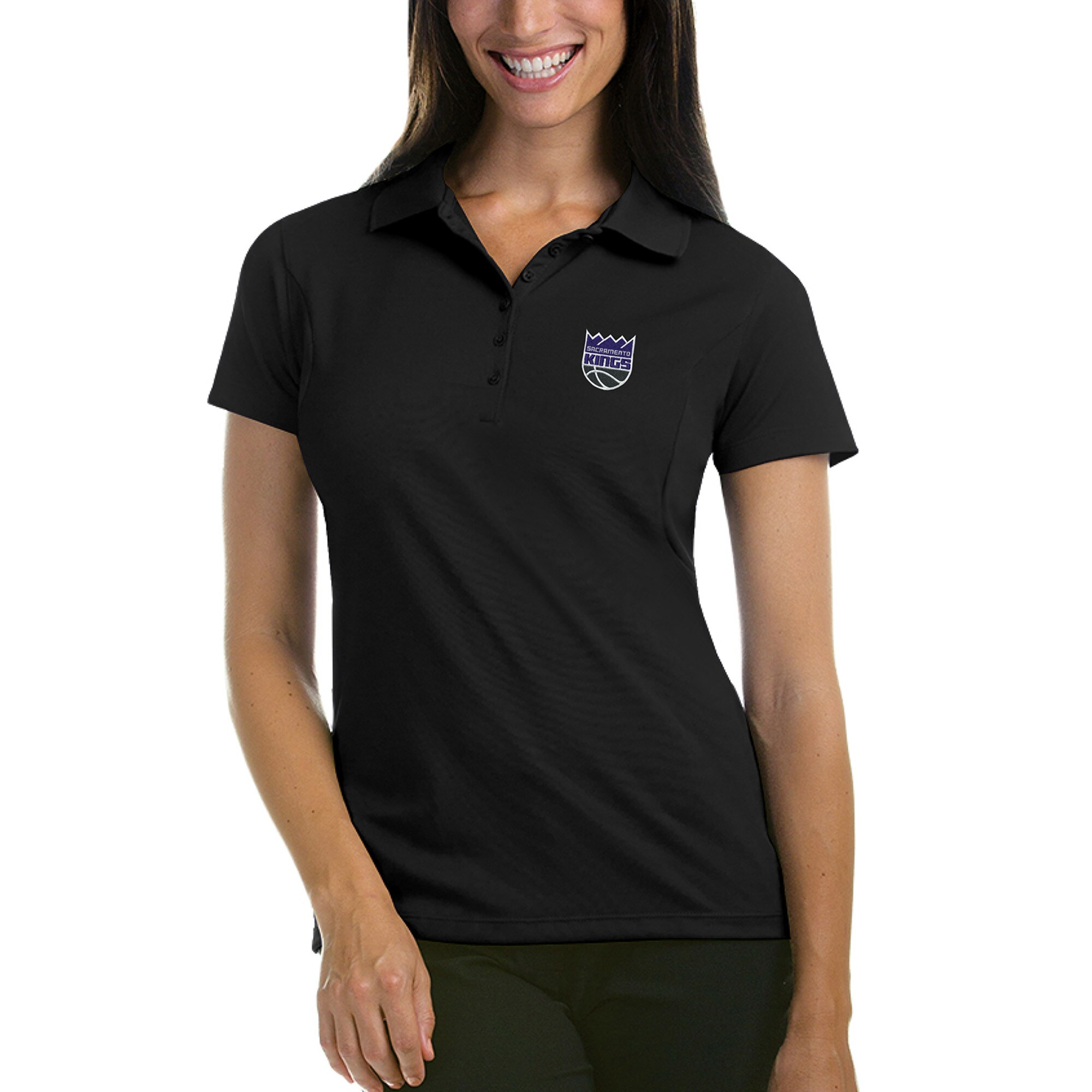Sacramento Kings Antigua Women's New Logo Pique Xtra-Lite Polo - Black