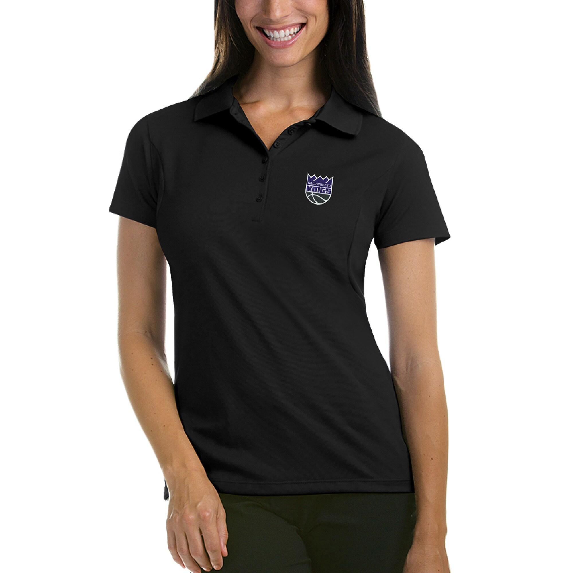 Sacramento Kings Antigua Women's New Logo Pique Xtra-Lite Polo - Black