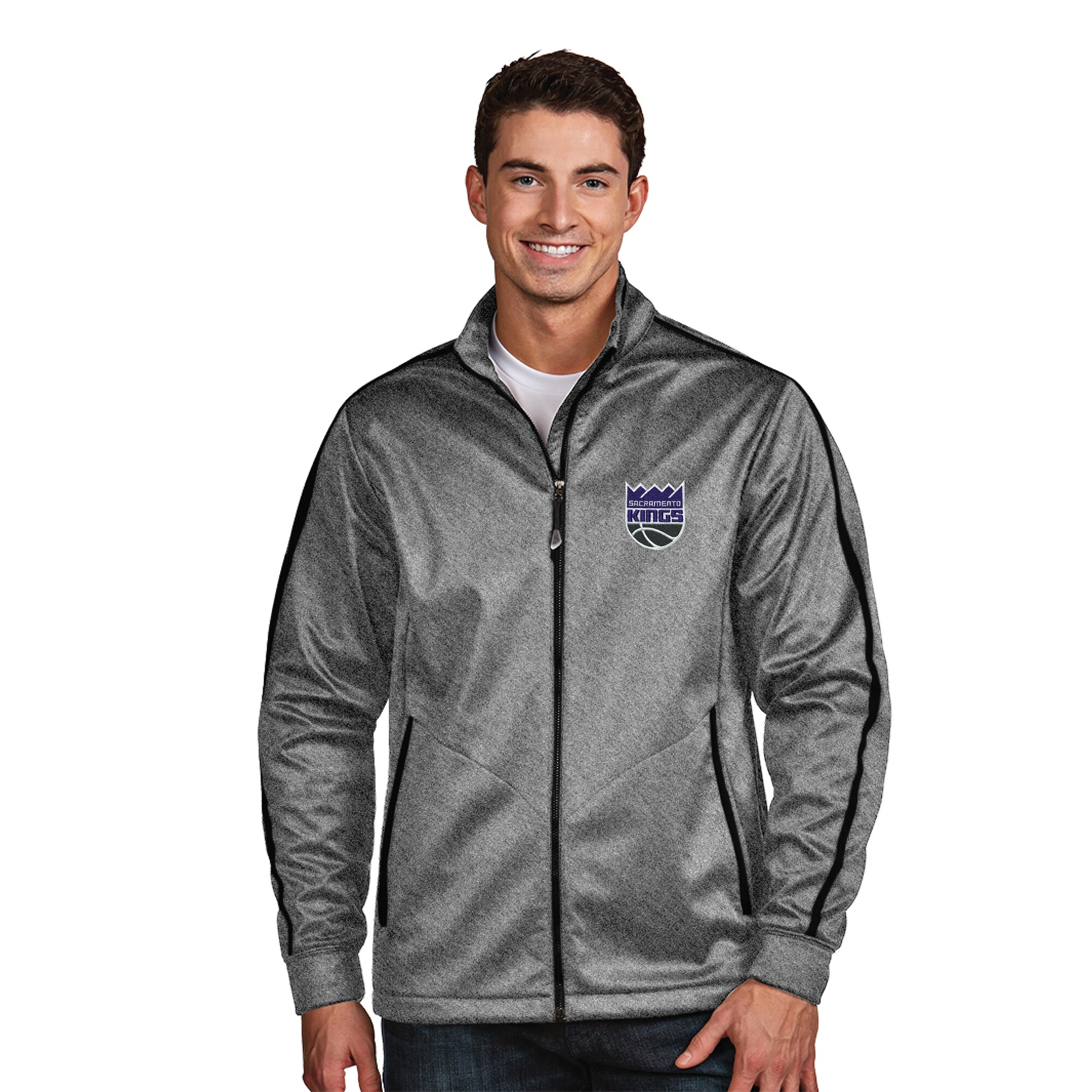 Sacramento Kings Antigua New Logo Golf Full-Zip Jacket - Gray