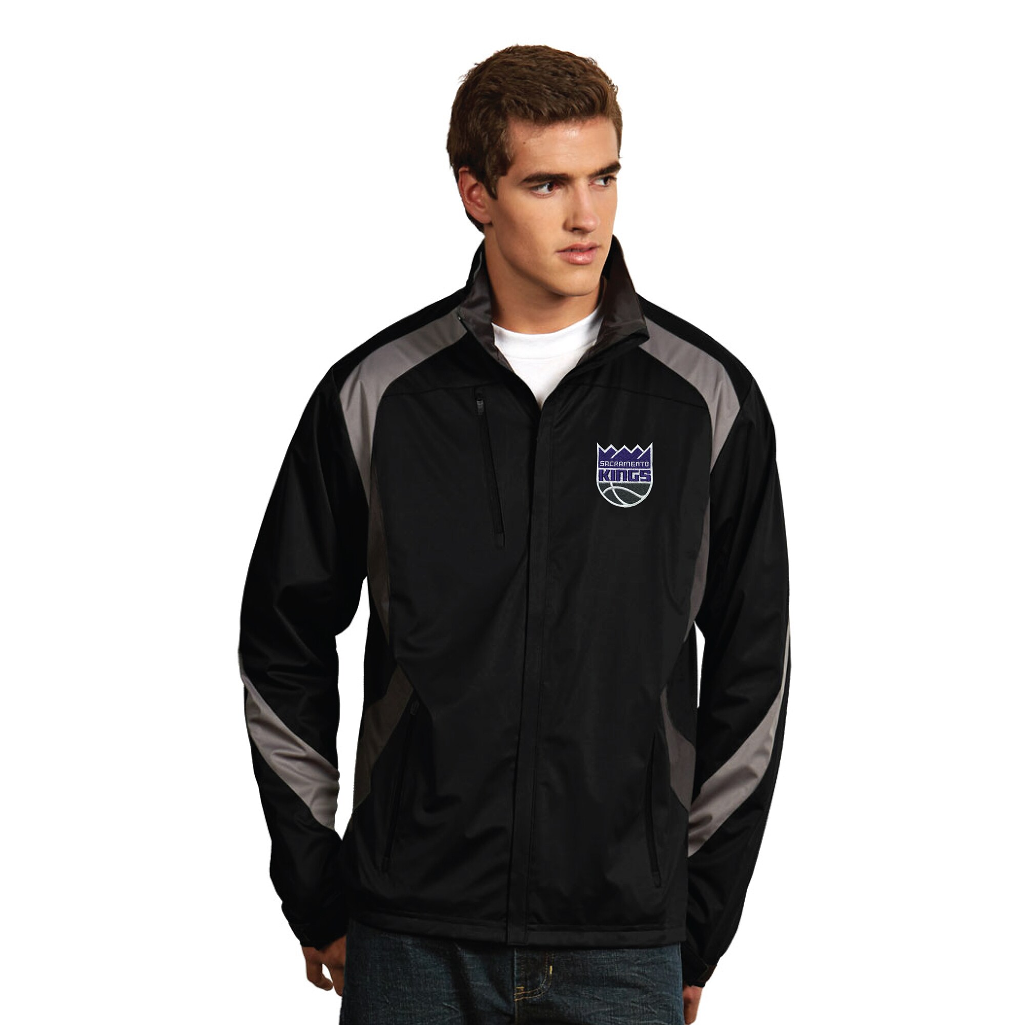Sacramento Kings Antigua New Logo Tempest Desert Dry Xtra-Lite Full-Zip Jacket - Black