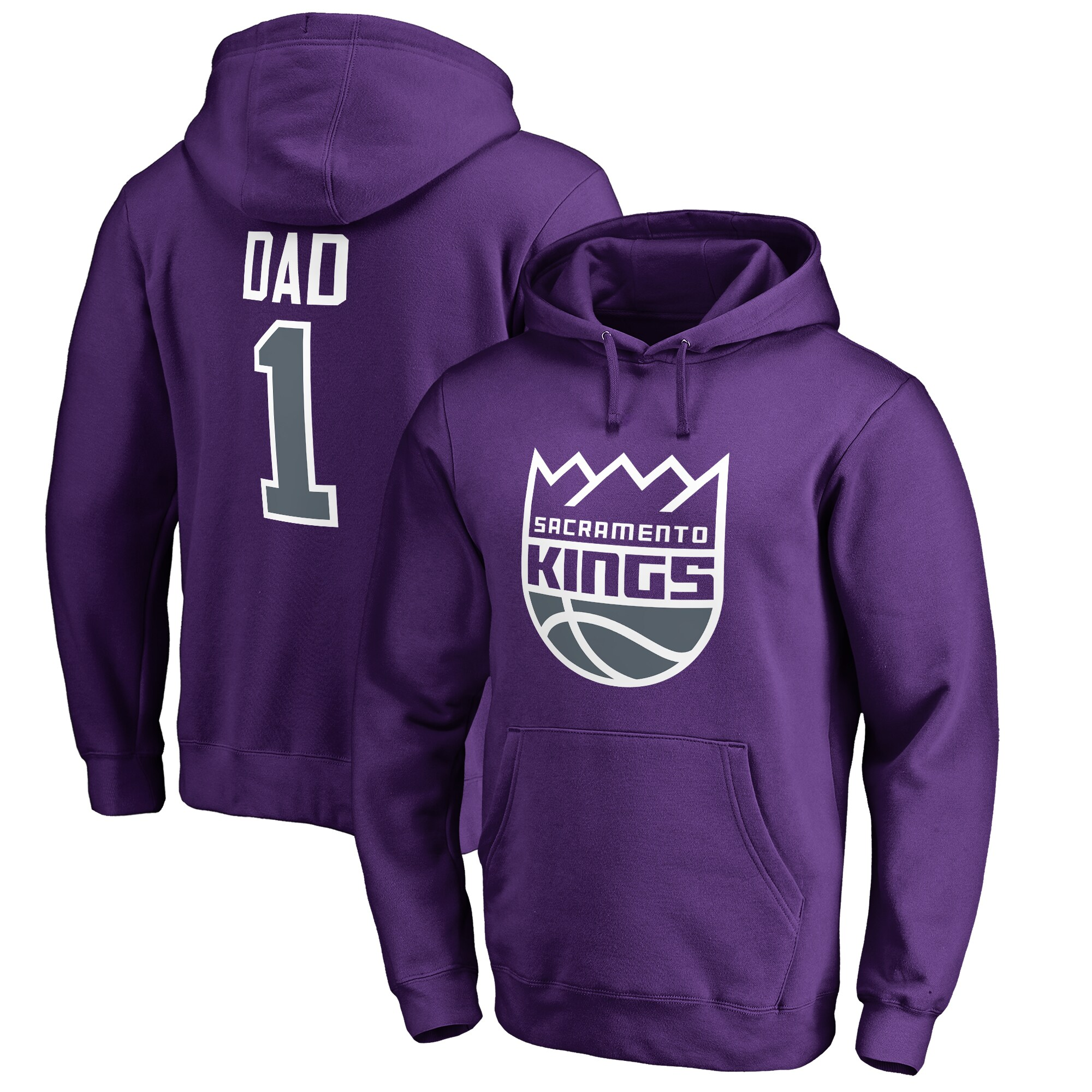Sacramento Kings #1 Dad Pullover Hoodie - Purple