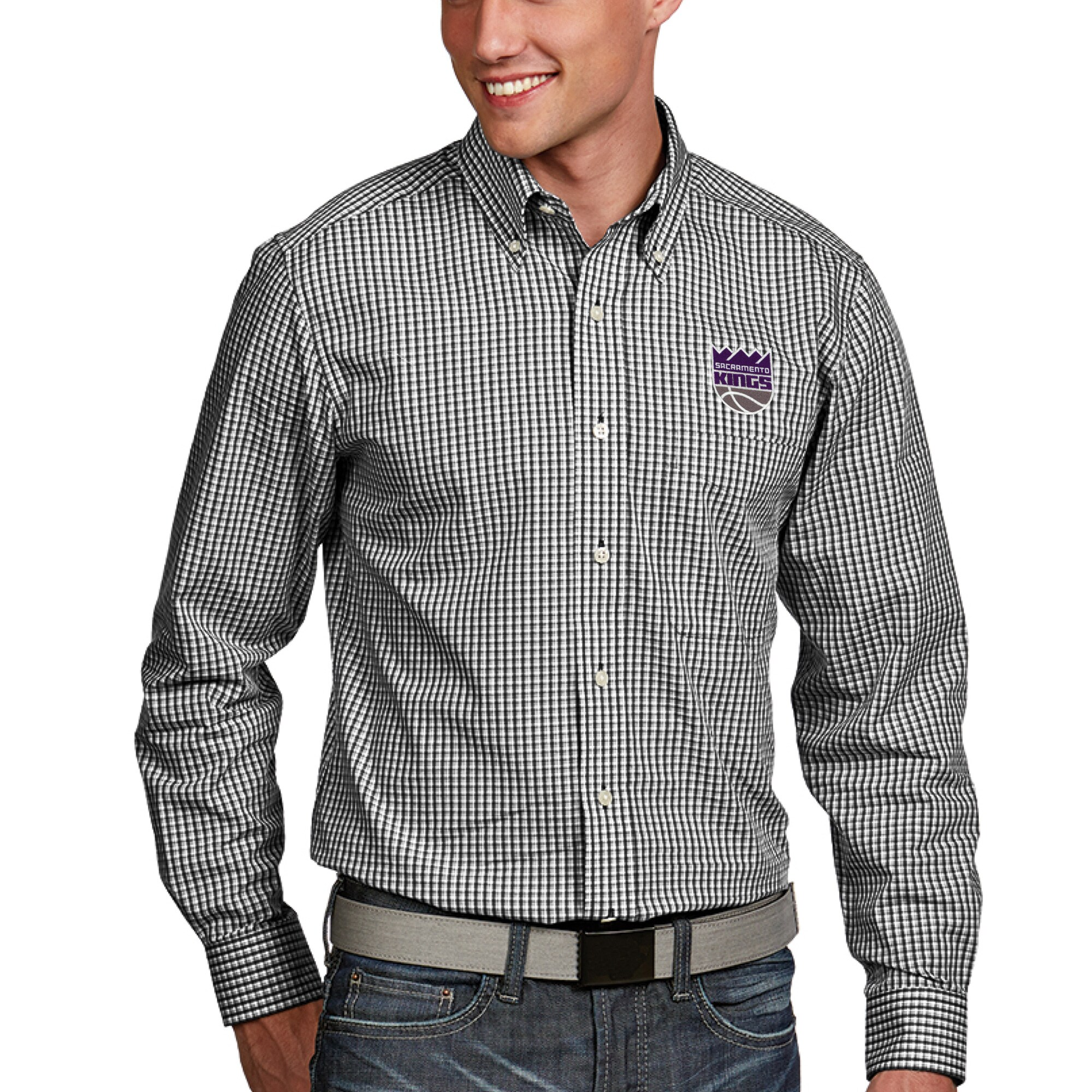 Sacramento Kings Antigua Associate Woven Long Sleeve Button-Down Shirt - Black