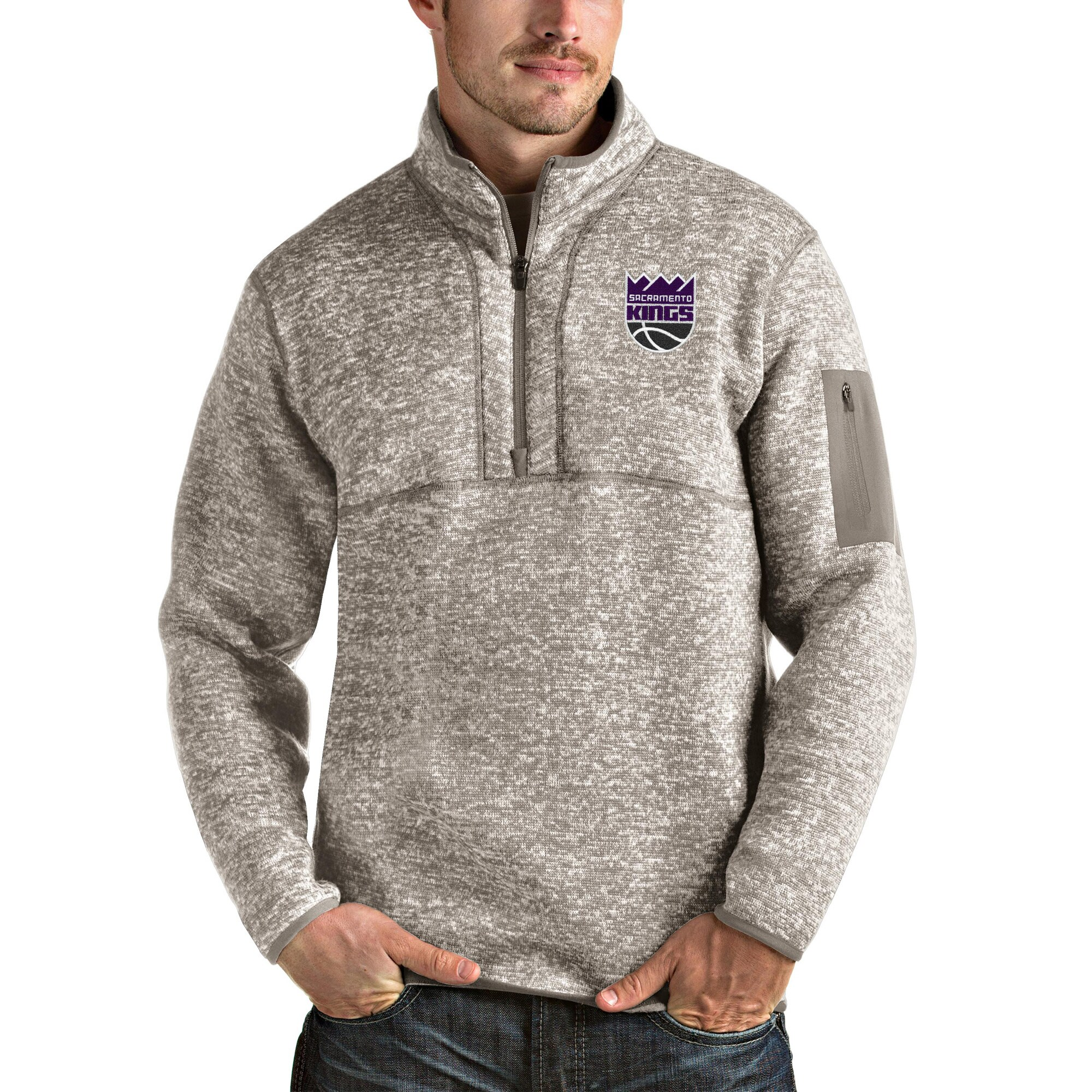 Sacramento Kings Antigua Fortune Quarter-Zip Pullover Jacket - Natural