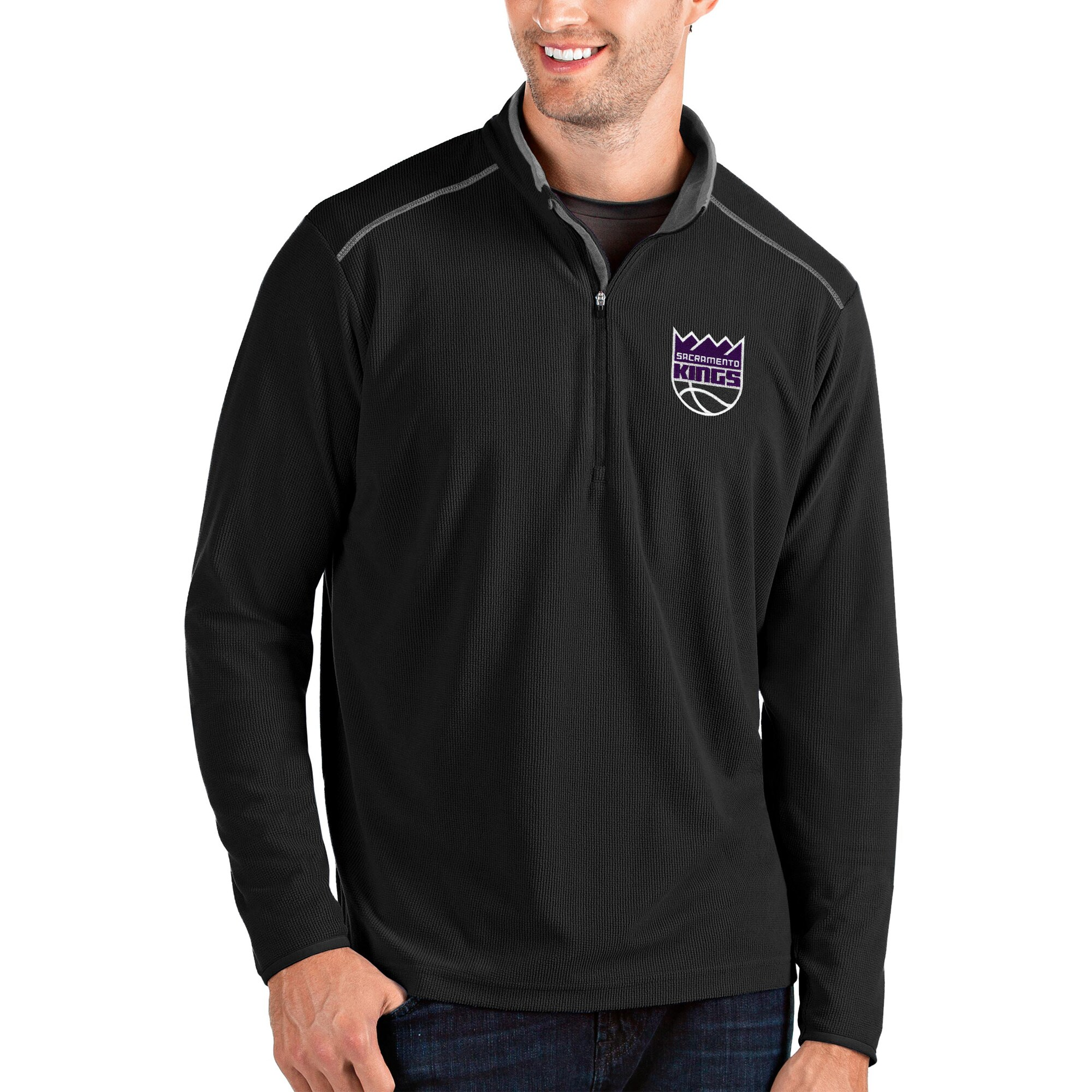 Sacramento Kings Antigua Glacier Quarter-Zip Pullover Jacket - Black/Gray