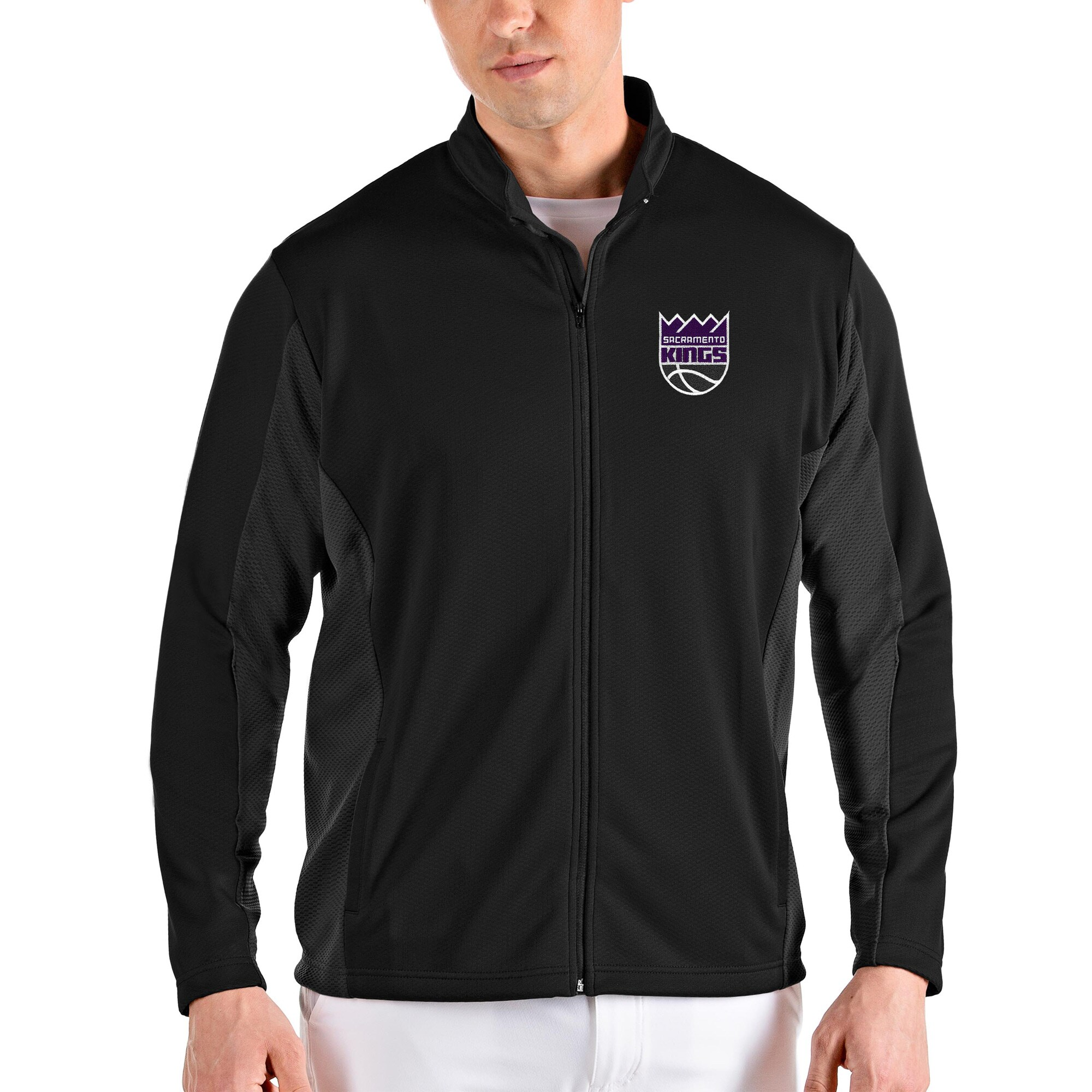 Sacramento Kings Antigua Passage Full-Zip Jacket - Black/Gray
