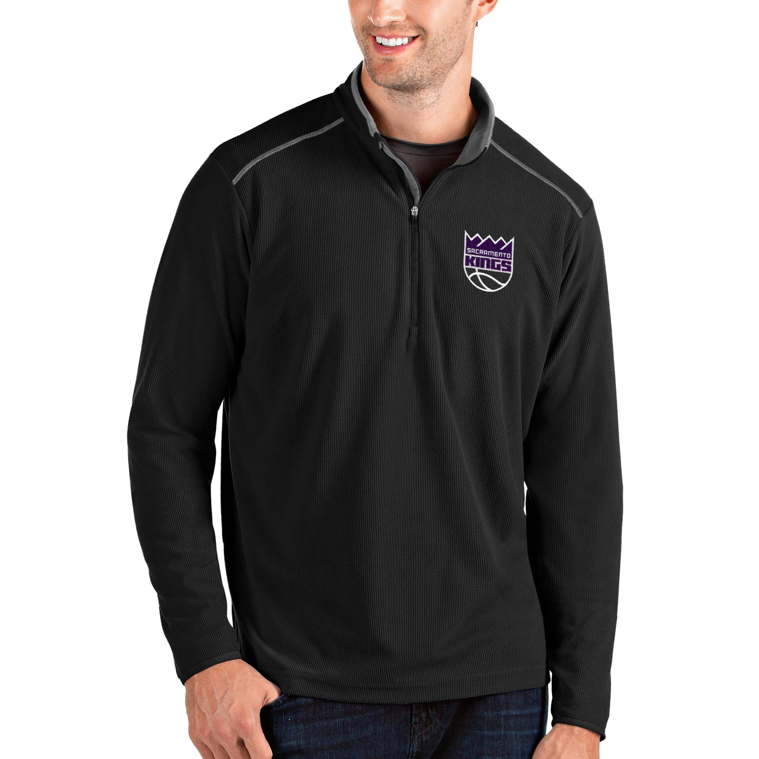 Sacramento Kings Antigua Big & Tall Glacier Quarter-Zip Pullover Jacket - Black/Gray