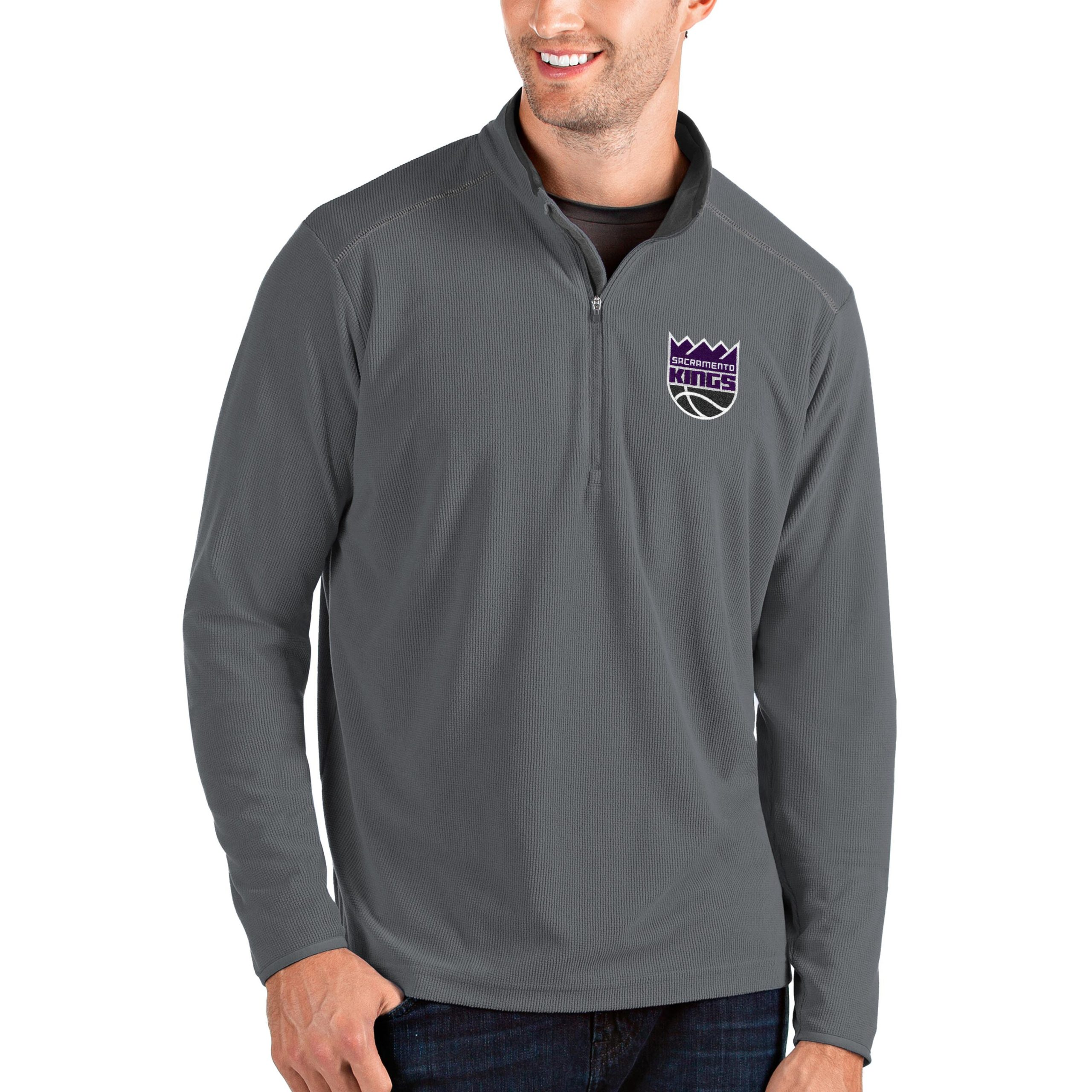 Sacramento Kings Antigua Big & Tall Glacier Quarter-Zip Pullover Jacket - Gray/Gray