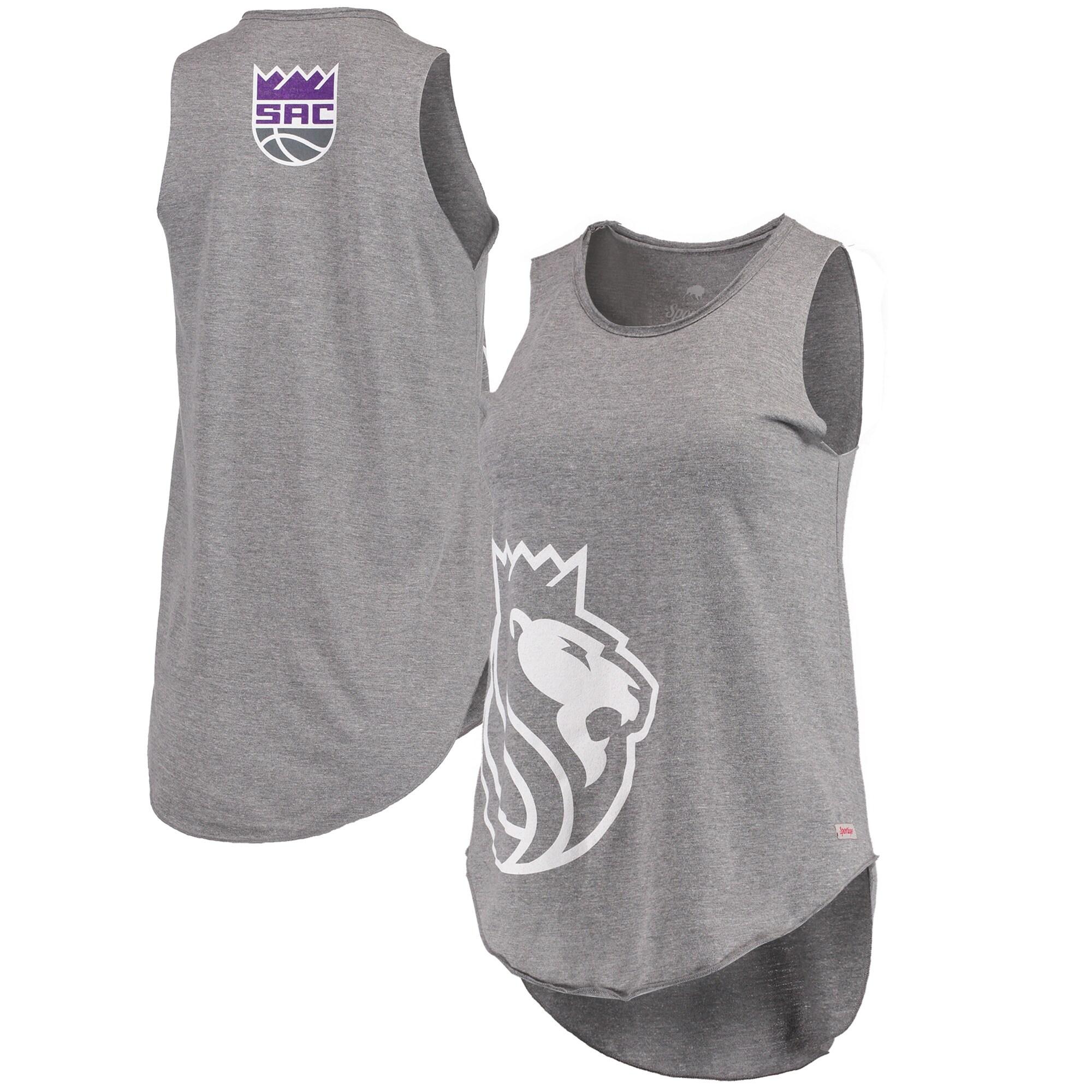 Sacramento Kings Women's Janie Wordmark Scoop Neck Tri-Blend Tank Top - Gray