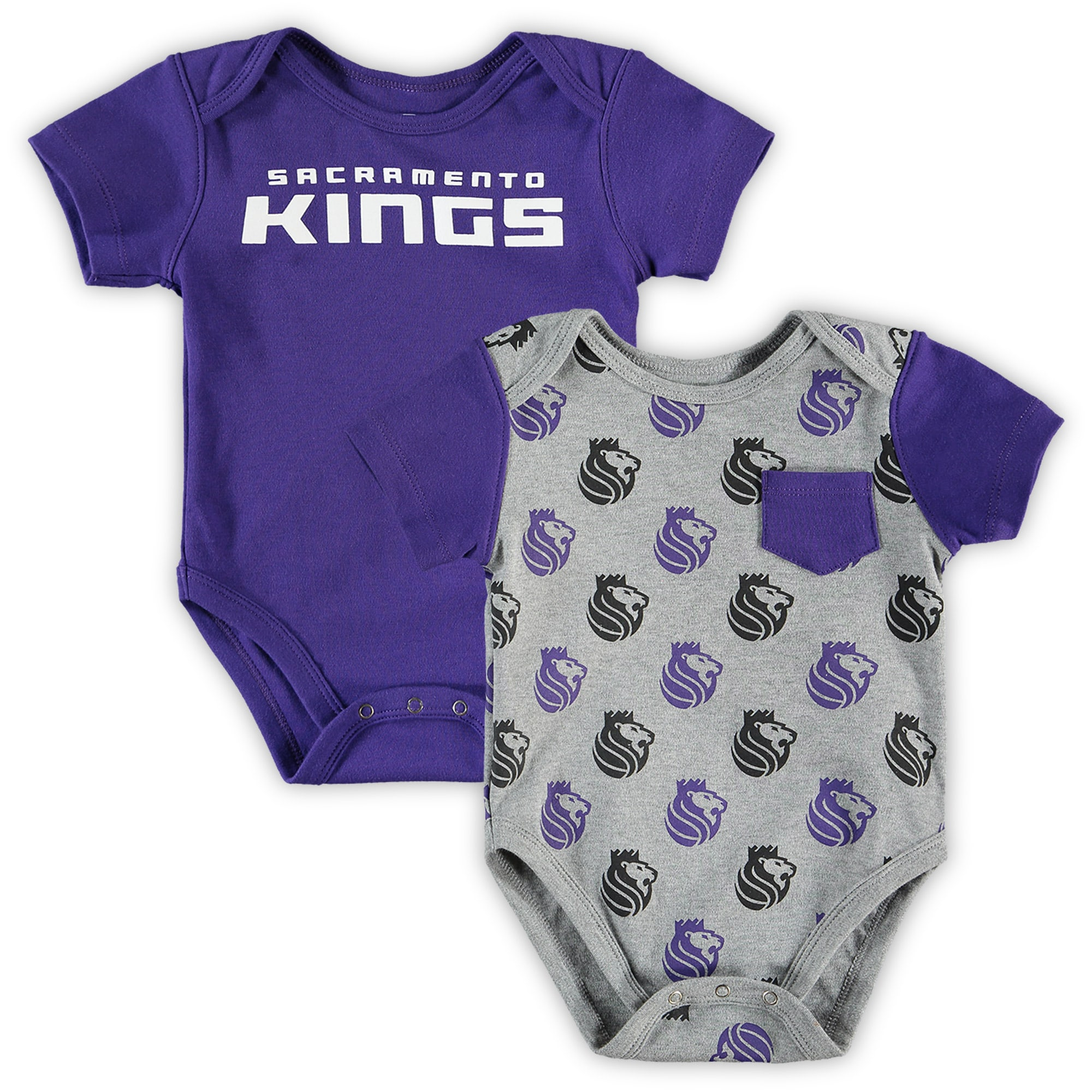 Sacramento Kings Infant Little Baller 2-Pack Bodysuit Set - Purple/Heathered Gray