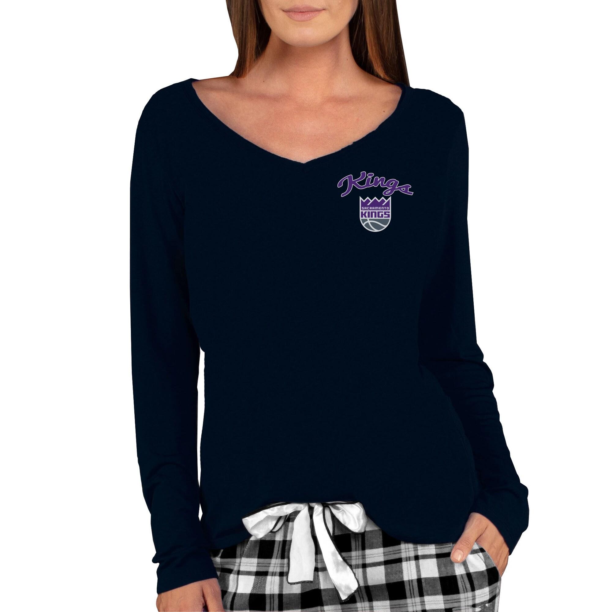 Sacramento Kings Concepts Sport Women's Marathon V-Neck Long Sleeve T-Shirt - Black