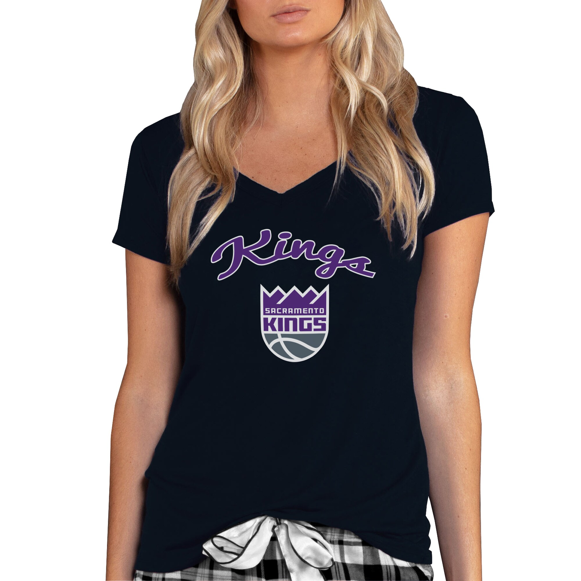 Sacramento Kings Concepts Sport Women's Marathon V-Neck T-Shirt - Black