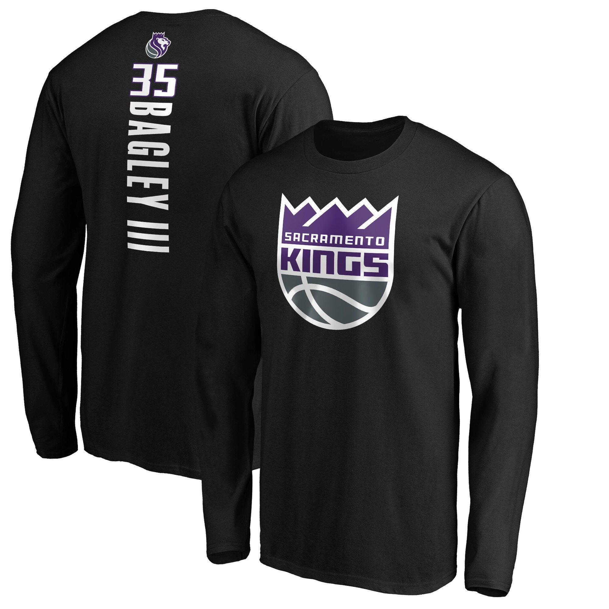 Marvin Bagley III Sacramento Kings Fanatics Branded Team Playmaker Name & Number Long Sleeve T-Shirt - Black
