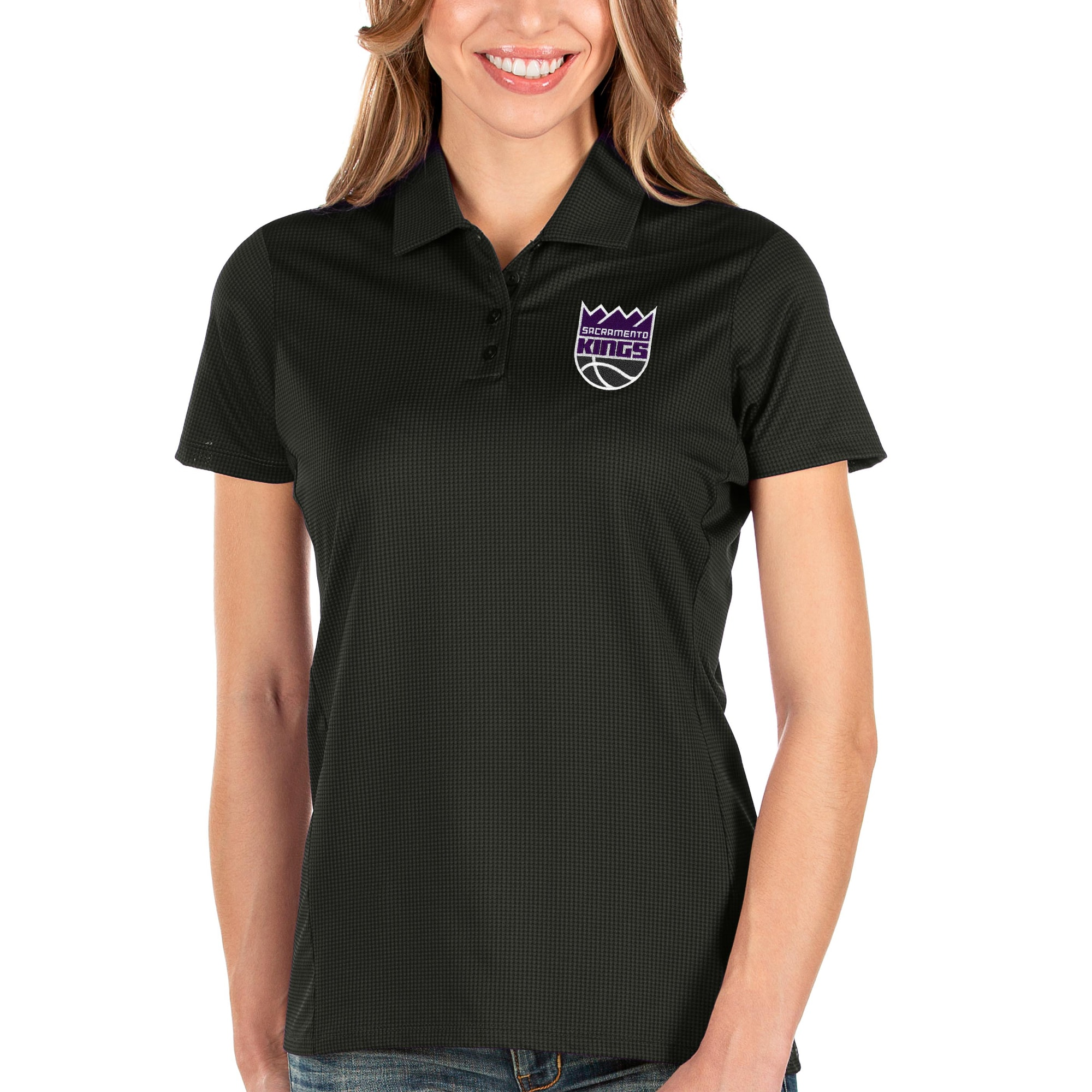 Sacramento Kings Antigua Women's Balance Polo - Black
