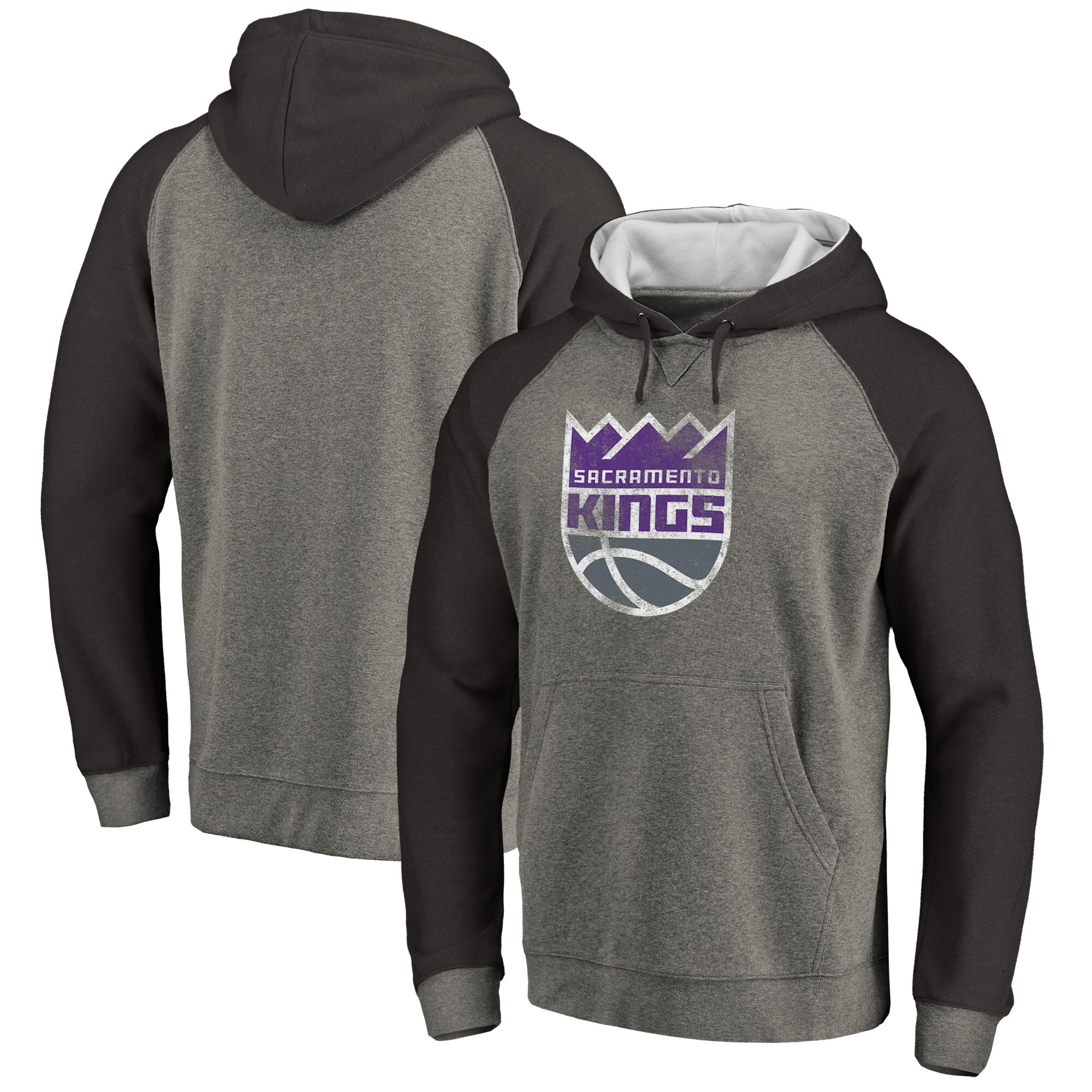 Sacramento Kings Fanatics Branded Distressed Logo Tri-Blend Pullover Hoodie - Ash/Black
