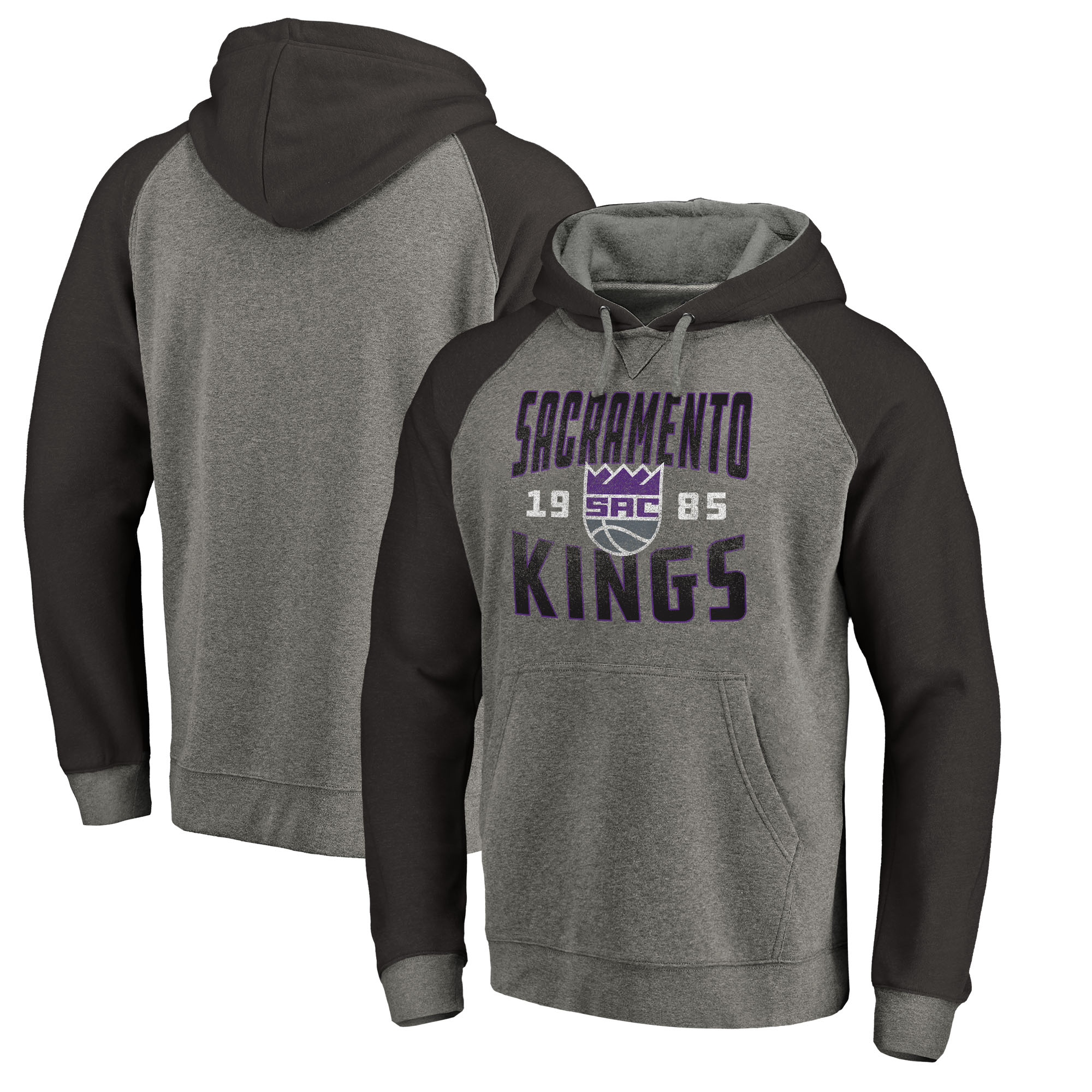 Sacramento Kings Fanatics Branded Ash Antique Stack Tri-Blend Raglan Pullover Hoodie