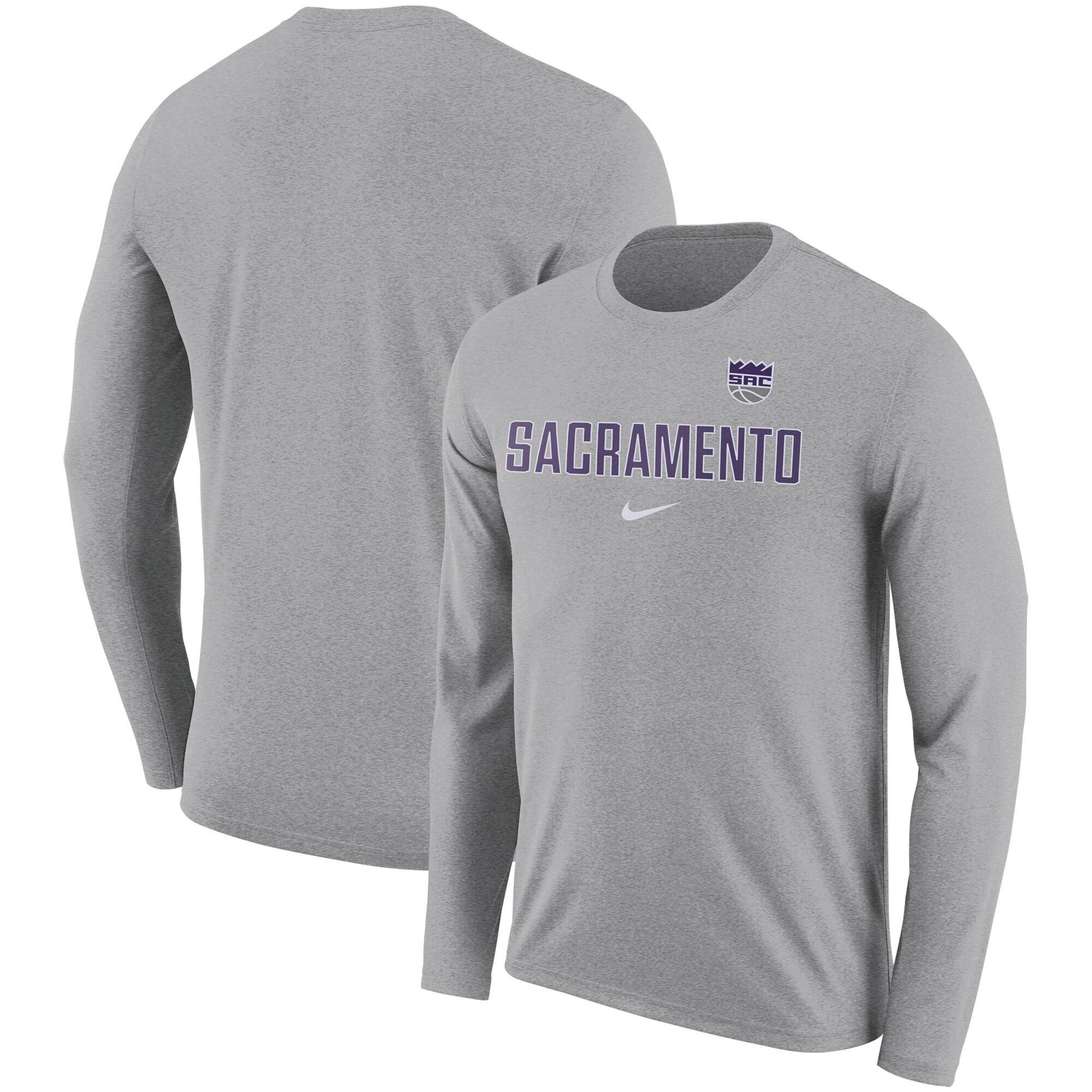 Sacramento Kings Nike Essential Facility Slub Performance Long Sleeve T-Shirt - Heathered Charcoal