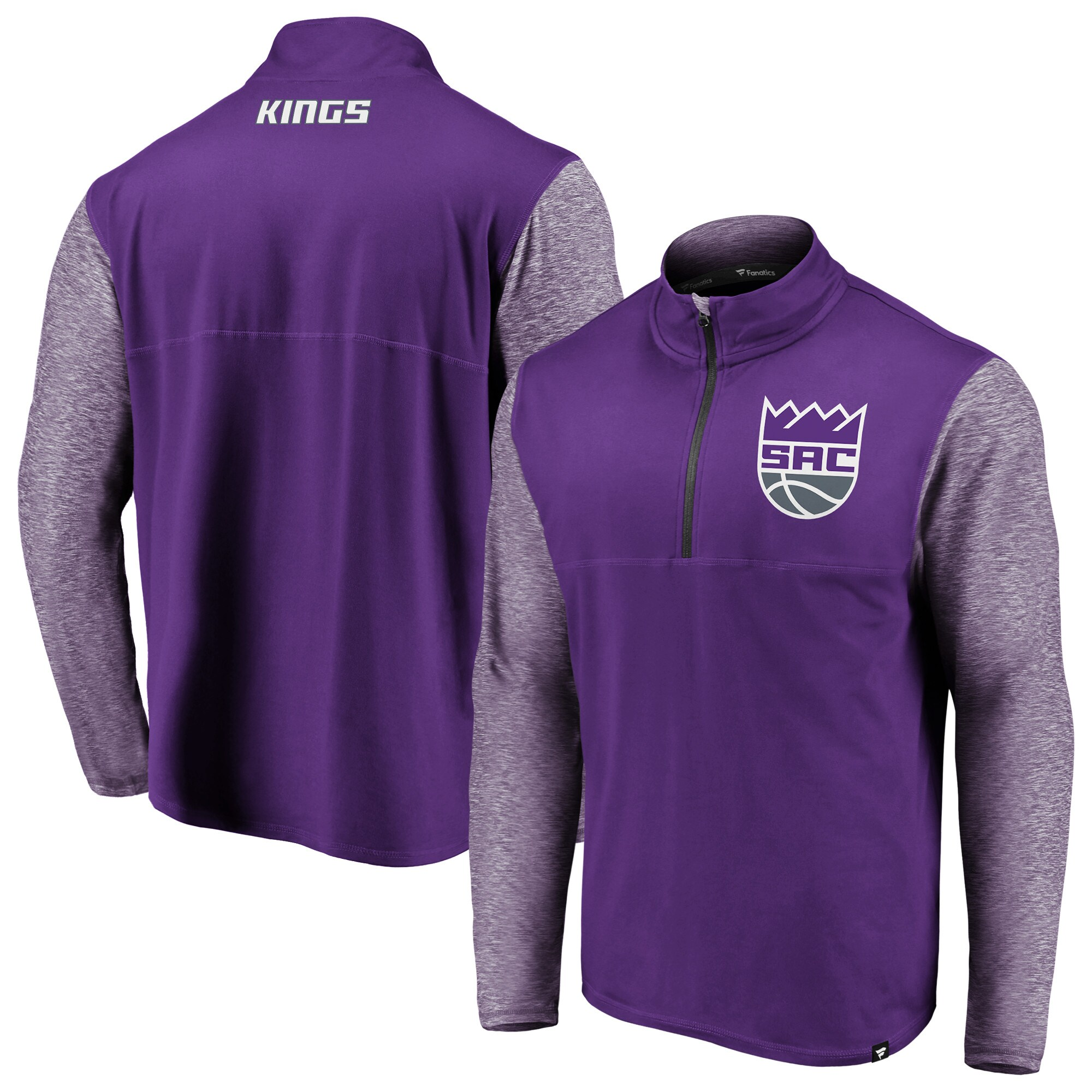 Sacramento Kings Fanatics Branded Made to Move Static Performance Quarter-Zip Pullover Jacket - Purple/Heathered Purple
