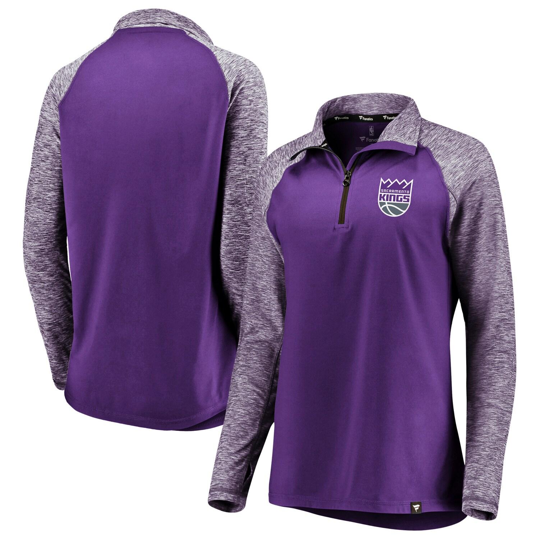 Sacramento Kings Fanatics Branded Women's Made to Move Static Performance Raglan Sleeve Quarter-Zip Pullover Jacket - Purple/Heathered Purple