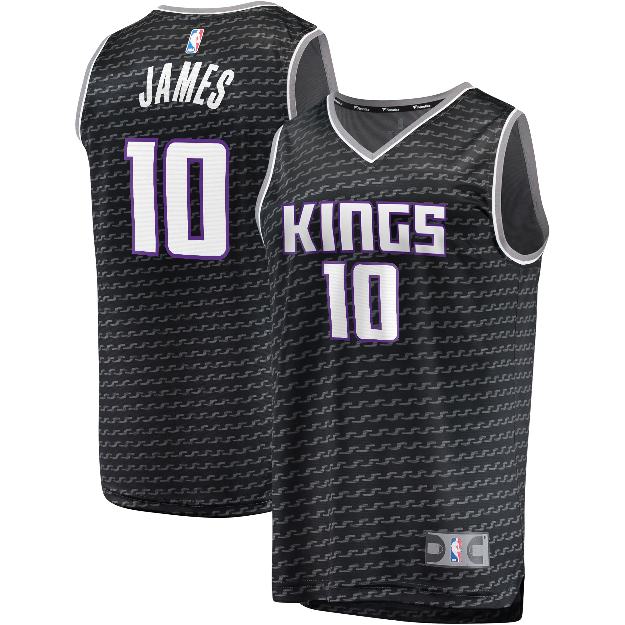 Justin James Sacramento Kings Fanatics Branded Fast Break Replica Player Jersey Black - Statement Edition