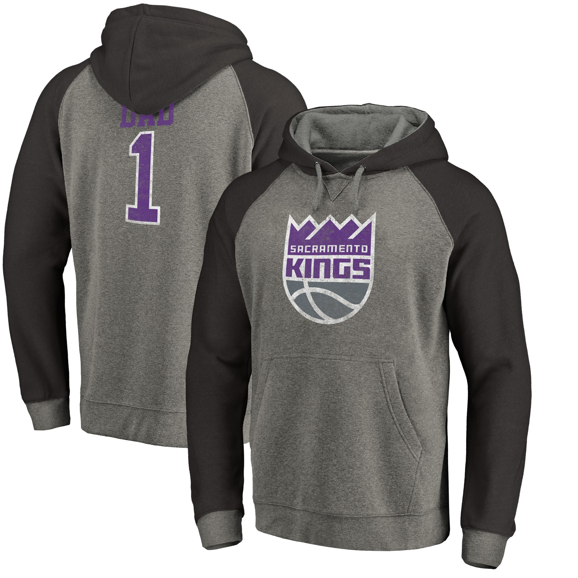 Sacramento Kings Fanatics Branded Greatest Dad Long Sleeve Tri-Blend Raglan Hoodie - Heathered Gray