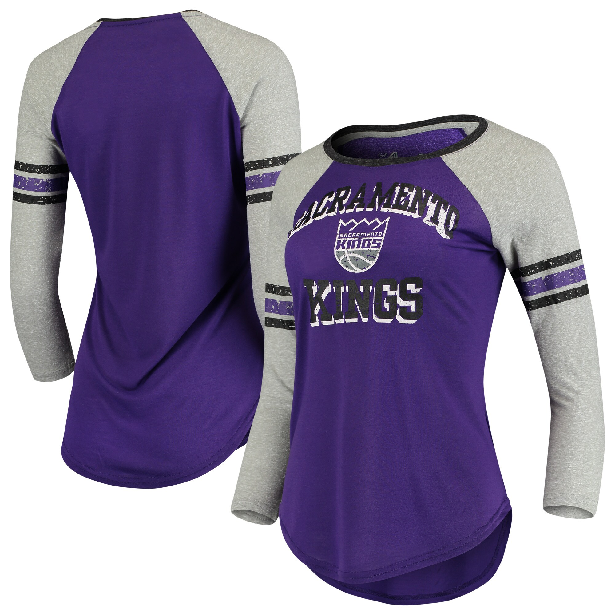 Sacramento Kings G-III 4Her by Carl Banks Women's The Court Tri-Blend Raglan 3/4-Sleeve T-Shirt - Purple/Heathered Gray