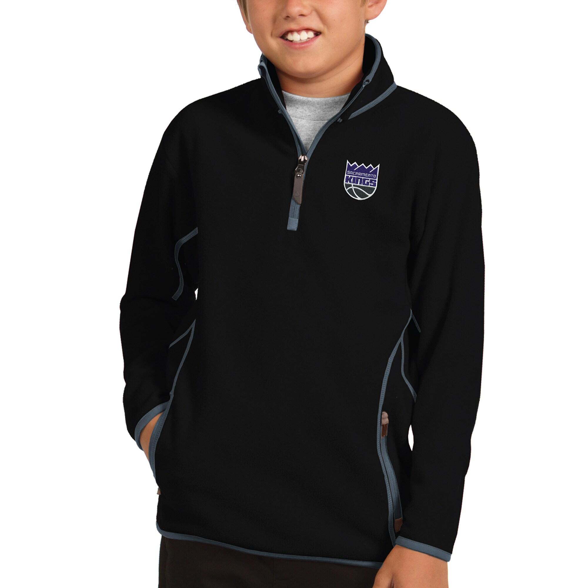 Sacramento Kings Antigua Youth New Logo Ice Quarter-Zip Jacket - Black