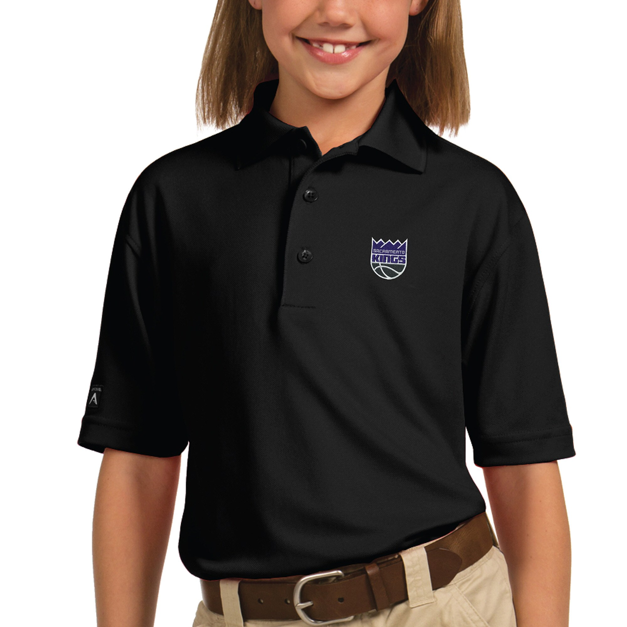 Sacramento Kings Antigua Youth New Logo Pique Desert Dry Xtra-Lite Polo - Black