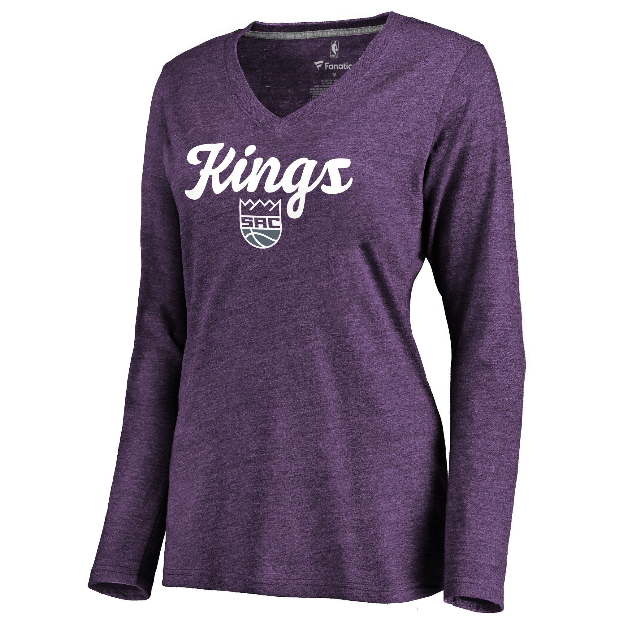 Sacramento Kings Women's Freehand Long Sleeve Tri-Blend V-Neck T-Shirt - Purple